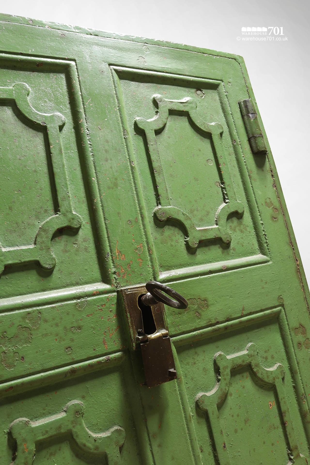 Salvaged Iron Green Painted Safe with Divider, Drawers and Key #4