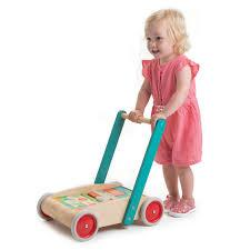 New Sturdy Wood Baby Walker FIlled with Blocks and Rubber Wheels