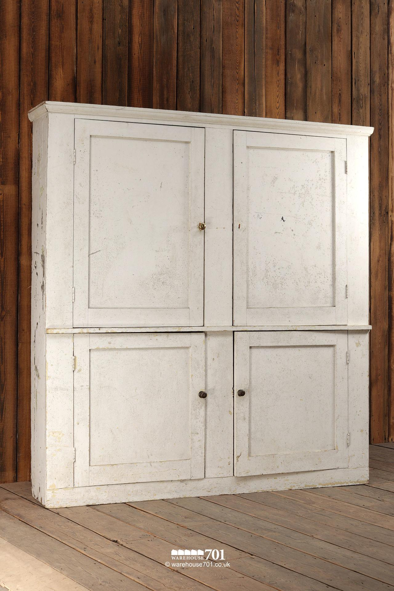 Very Large Reclaimed White Painted Butlers, Linen or Pot Cupboard #3