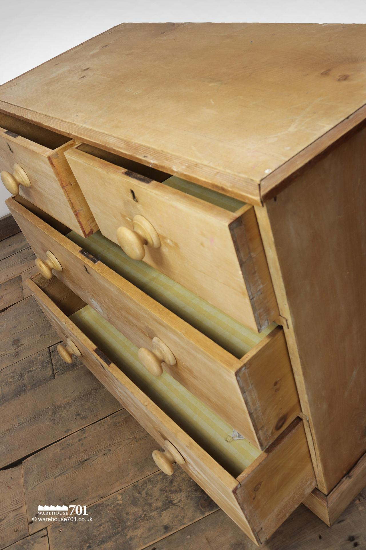 Old Four Drawer Honey Pine Chest of Drawers #2