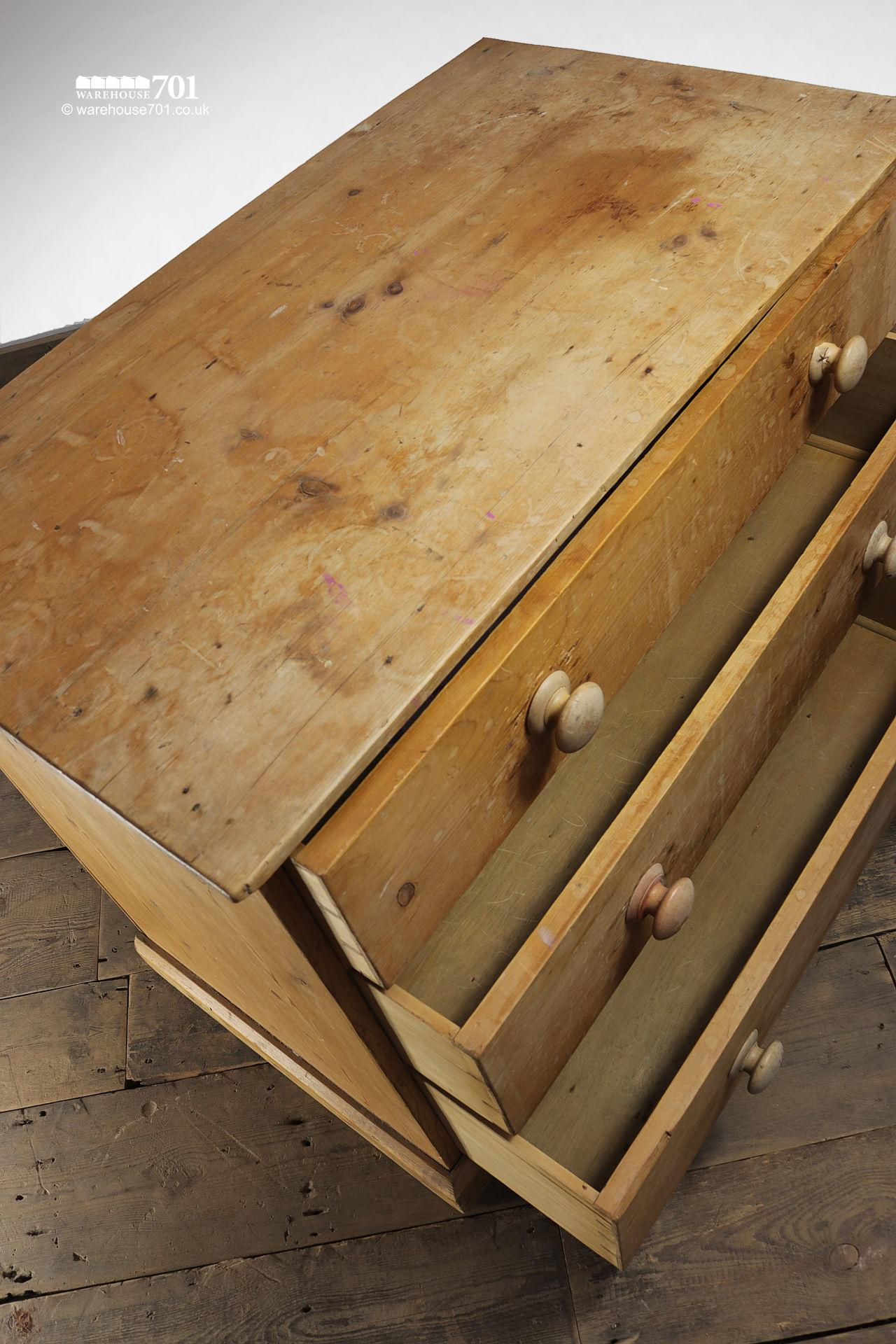 Vintage Three Drawer Stripped Pine Chest of Drawers #5