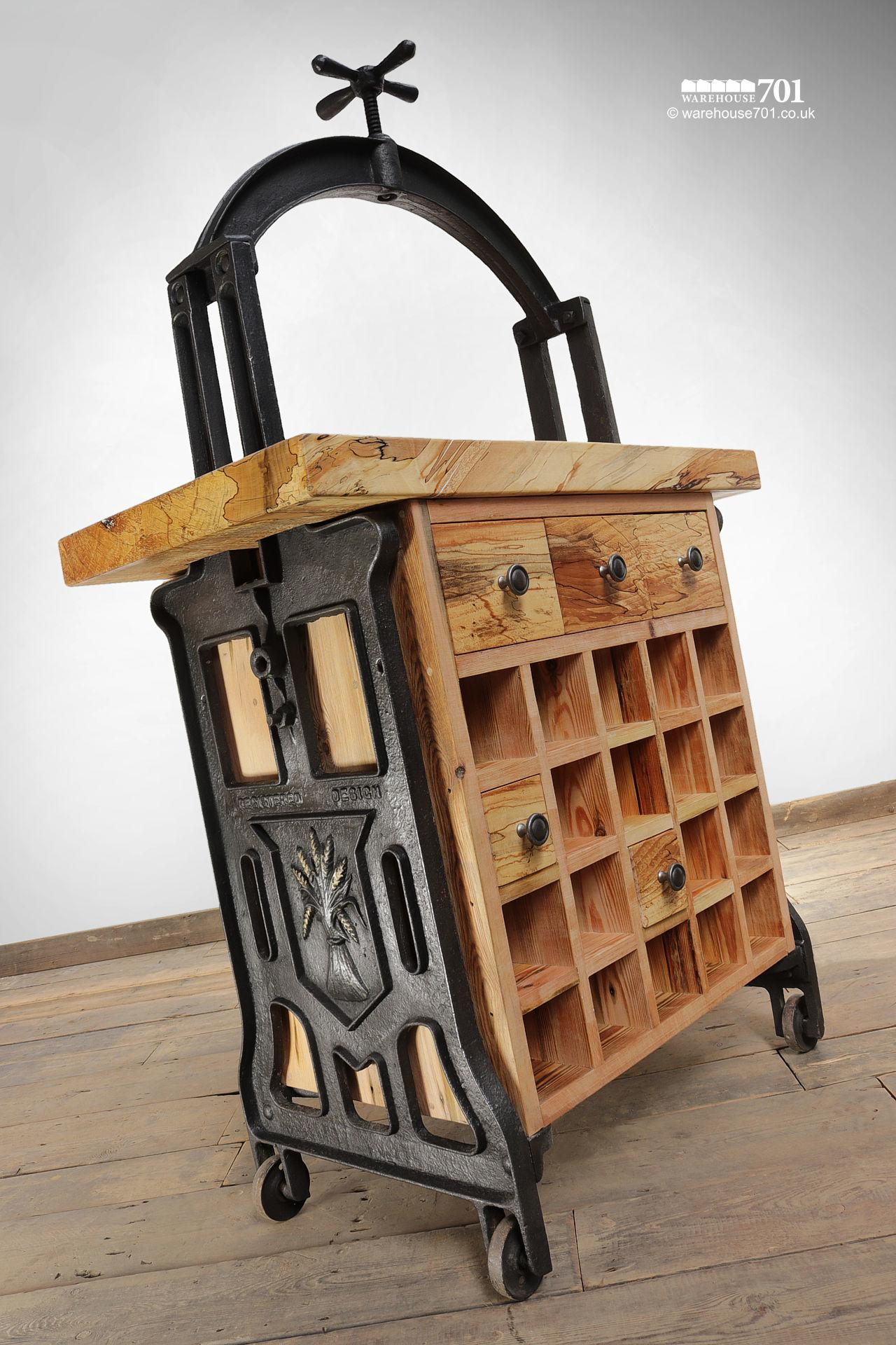 Unique Hand-Crafted Cast Iron and Beech 'Silenus' Wine Station #9
