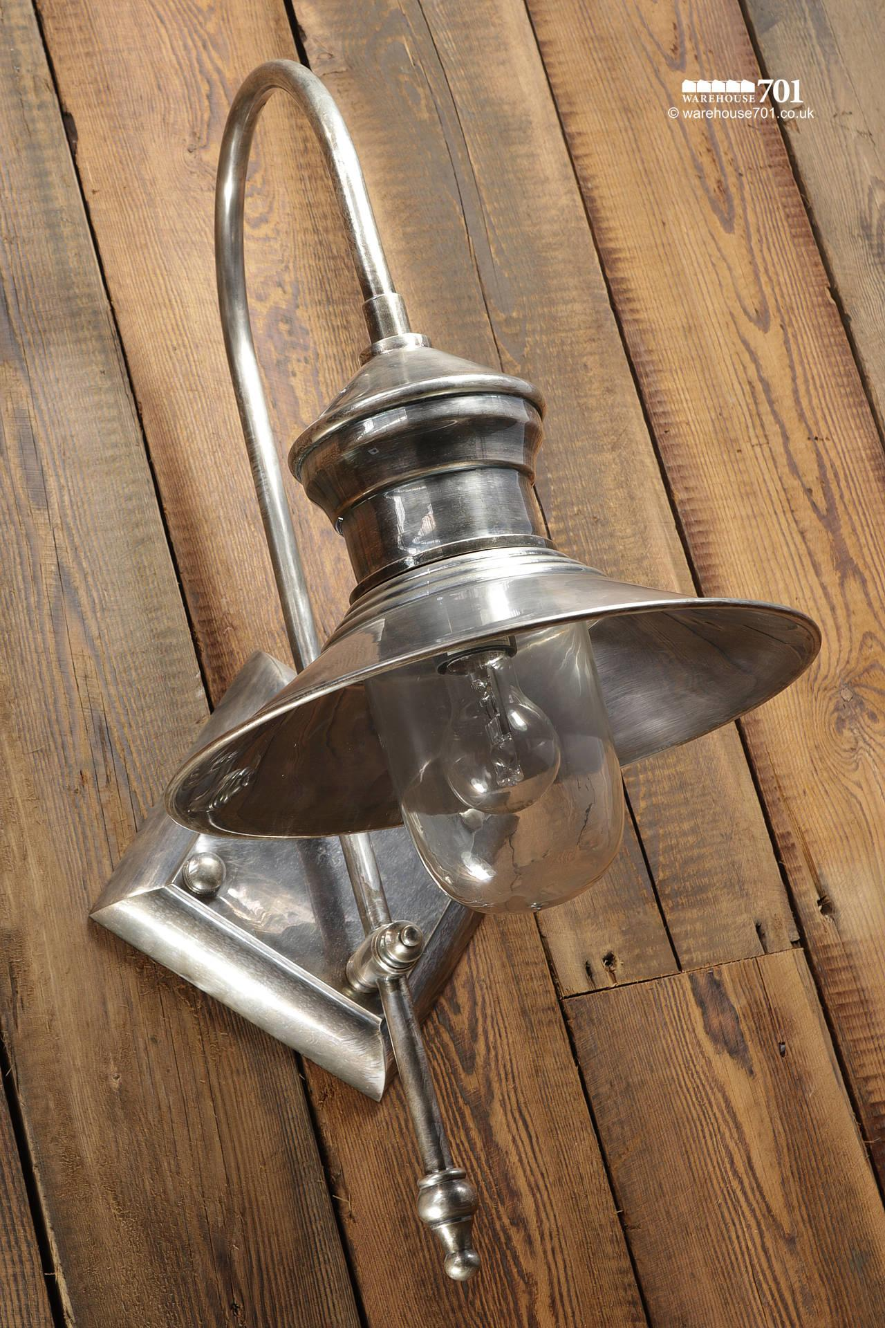 New Pewter-Colour Ship Style Swan-Neck Wall Light