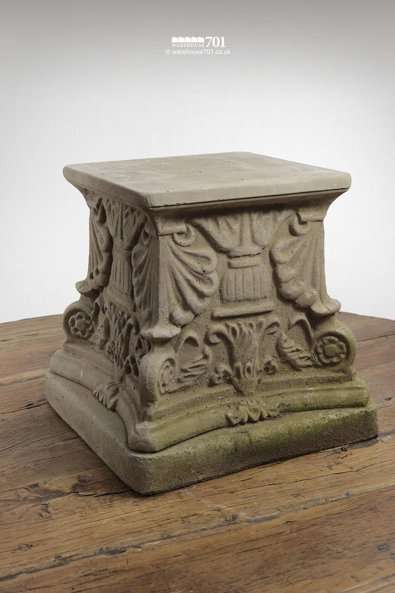 New Cast Stone Square Floral Plinth (Raised)