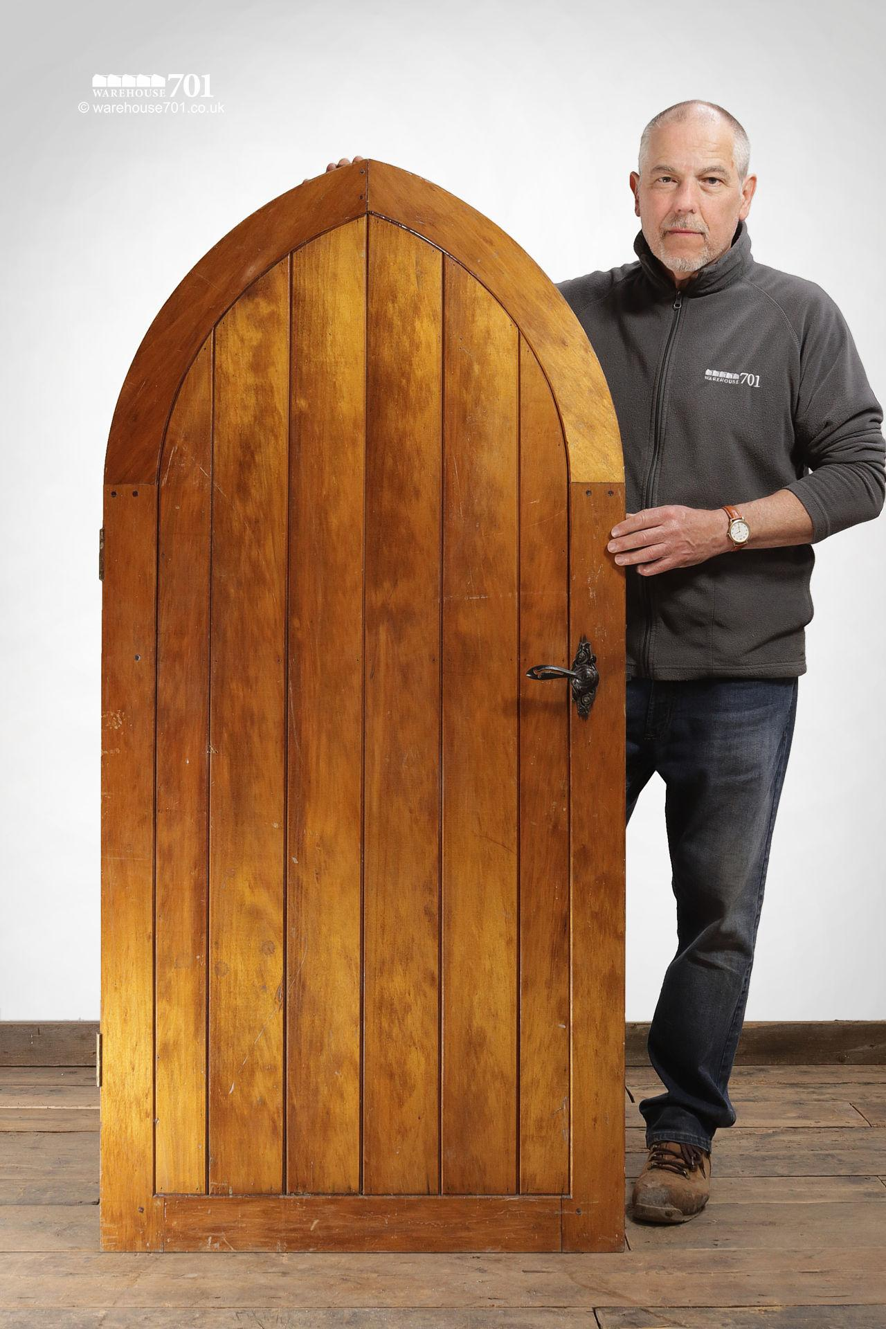 Small Wood Plank Arched Top Chapel Door #2