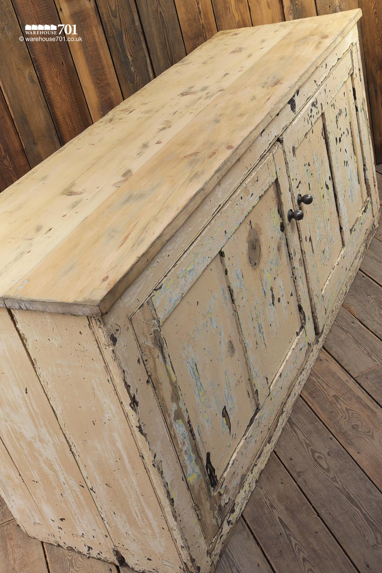 Beautiful Old Aged Two Door Painted Wood Sideboard #9