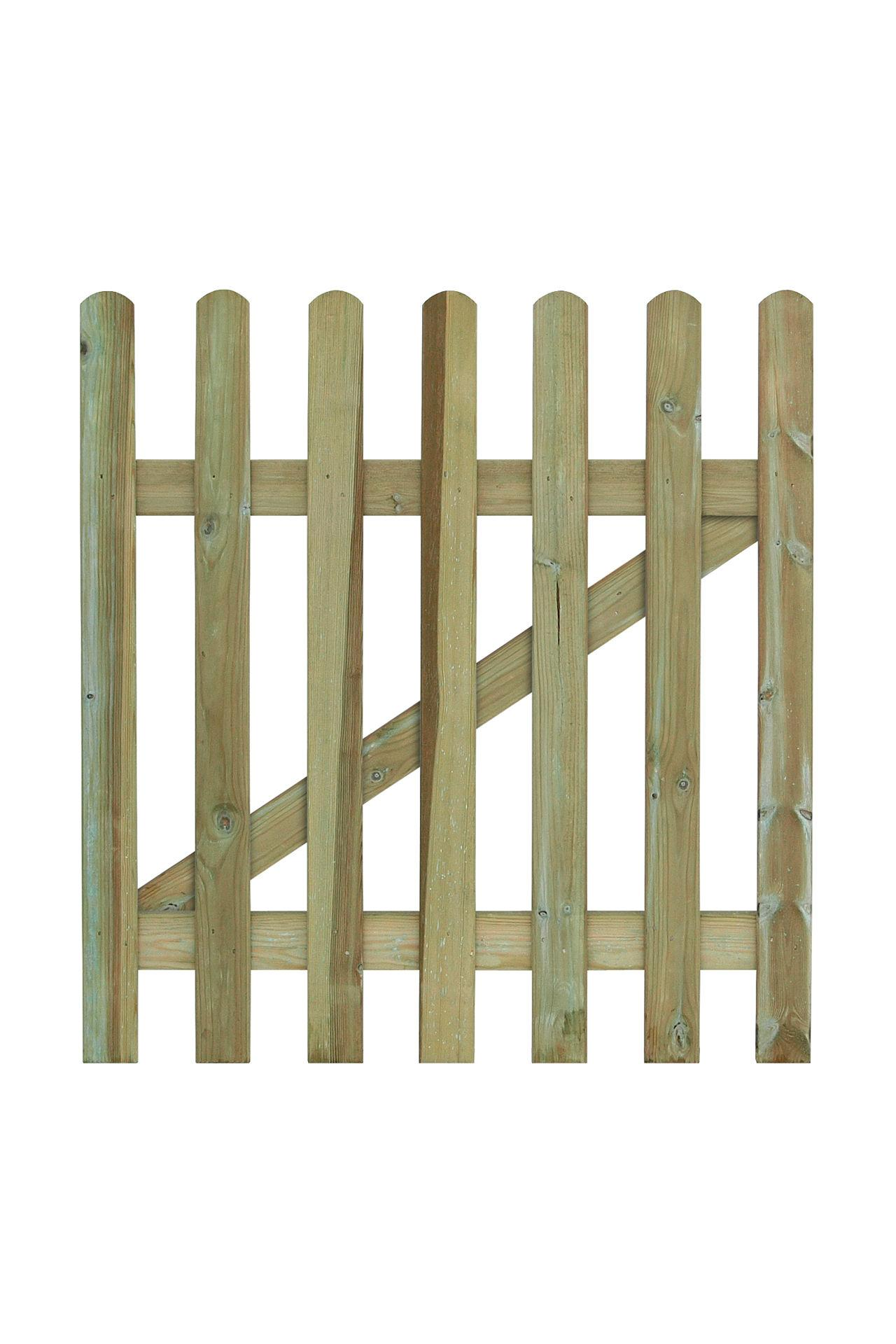 Pallisade Wood Gate with Rounded Pickets