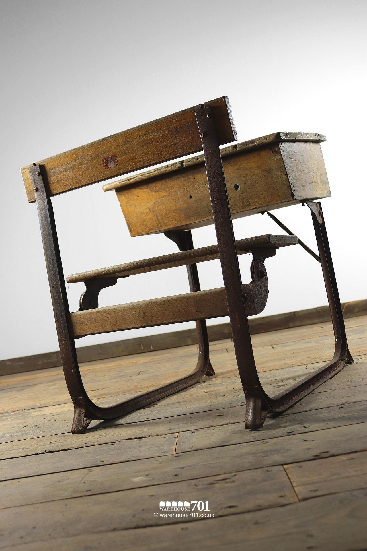 Reclaimed Wooden Childs School Desk and Seat #6