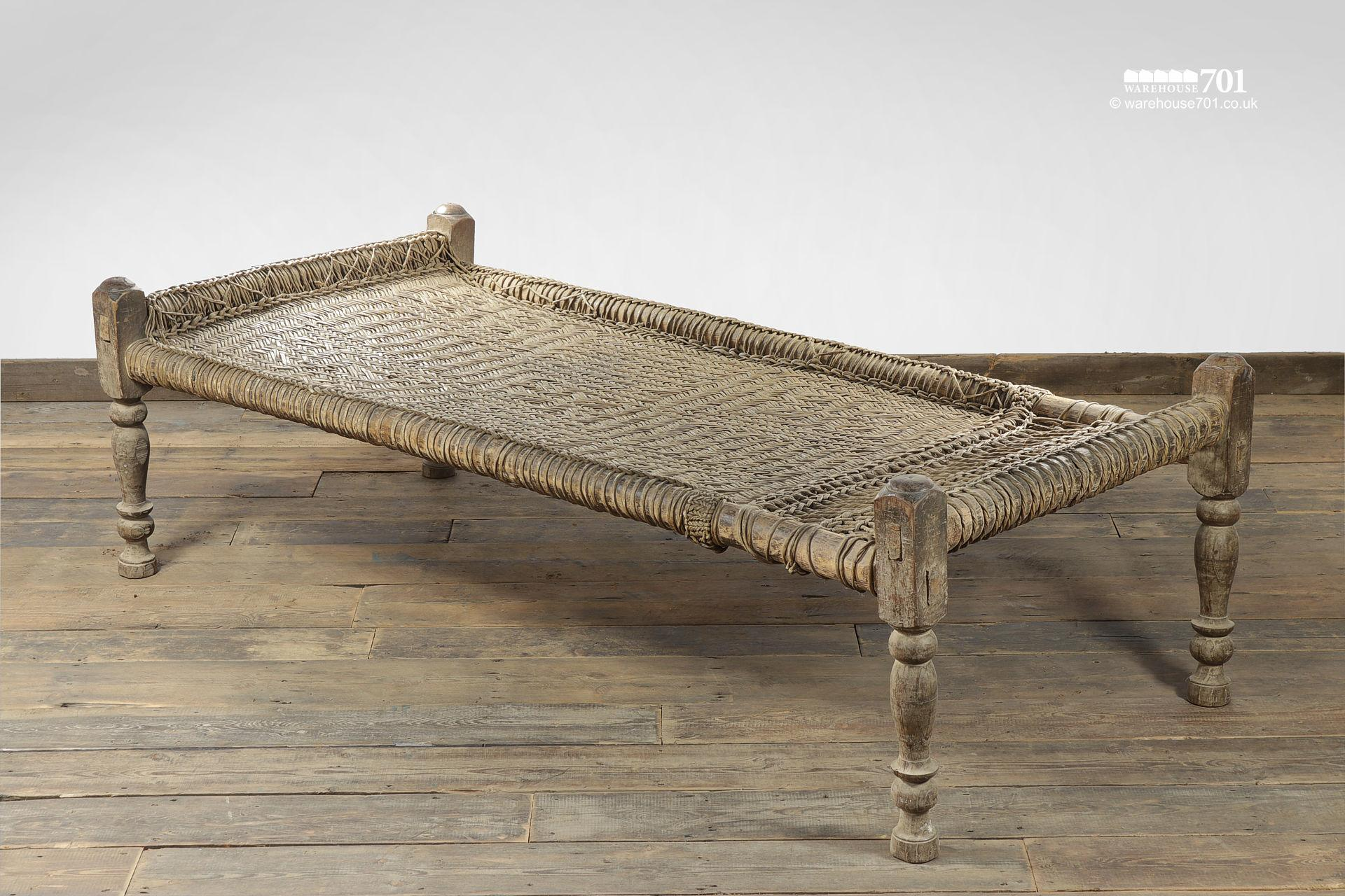 Decorative Wood and Woven Rattan Bed #2