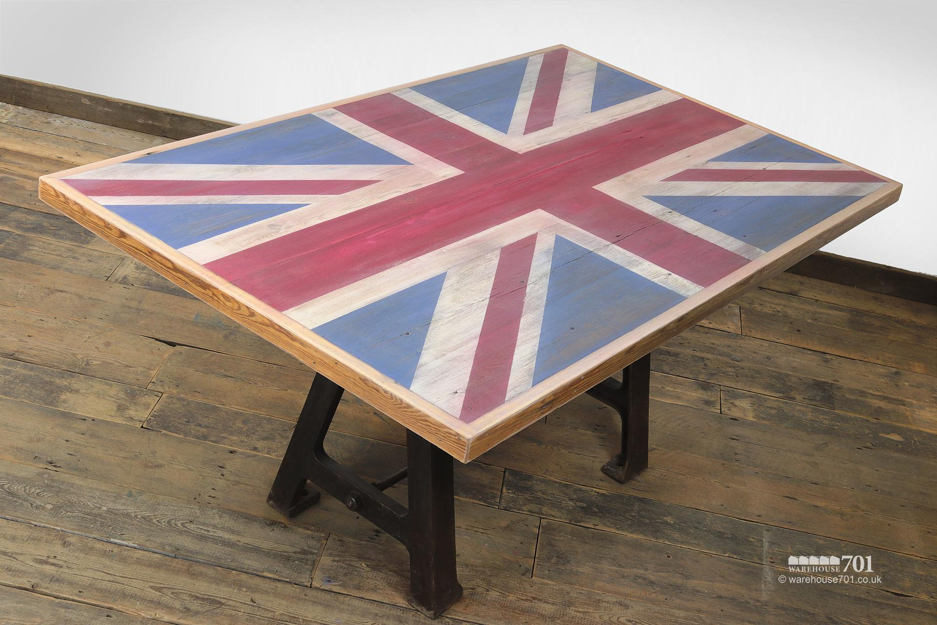 Reclaimed Cast Iron base Union Jack Wooden Table #4
