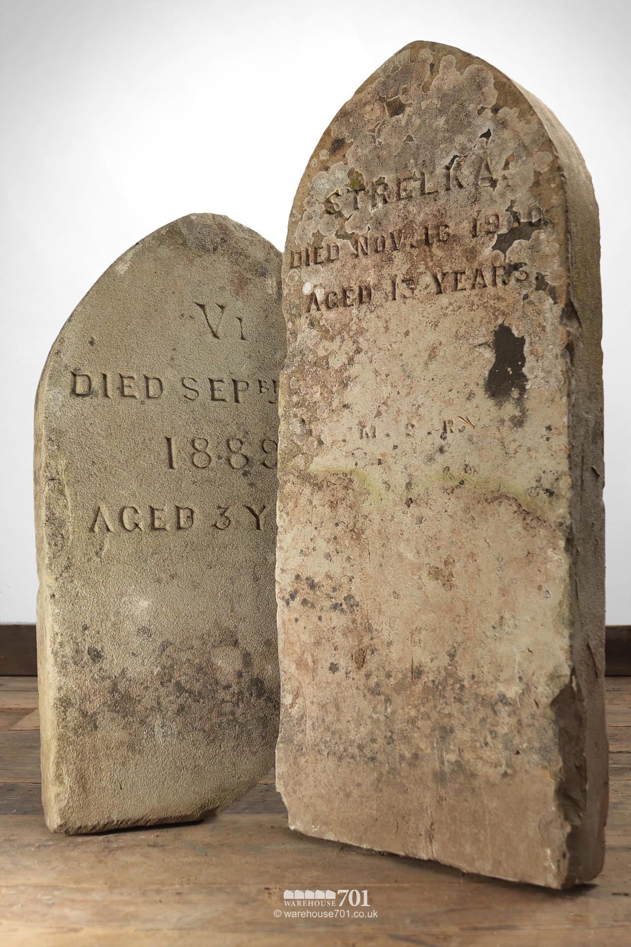 Old Pet Cemetery Hand-Carved Headstone Grave Markers #2