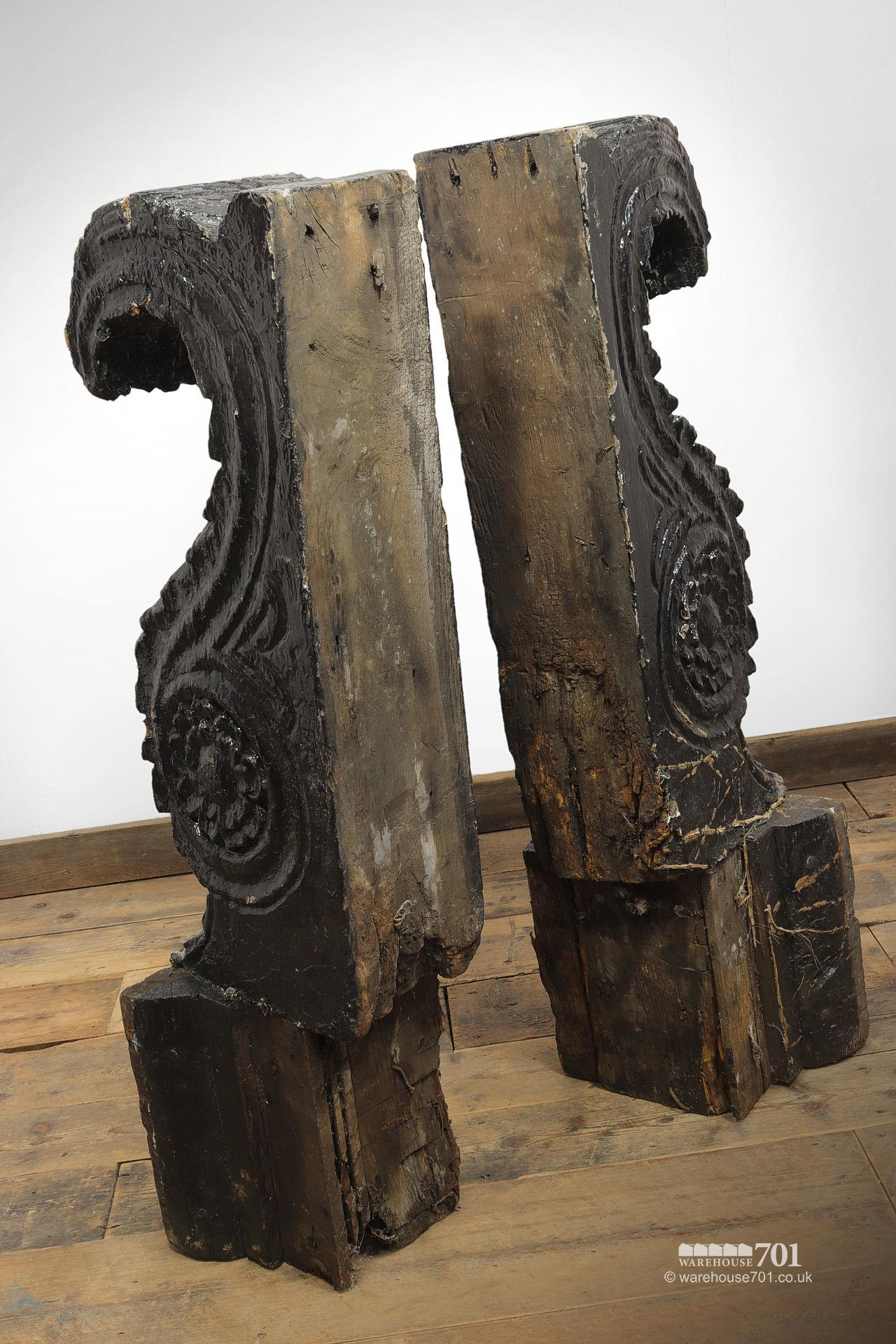 Pair of Huge Old Salvaged Hand Carved Oak Corbels #4