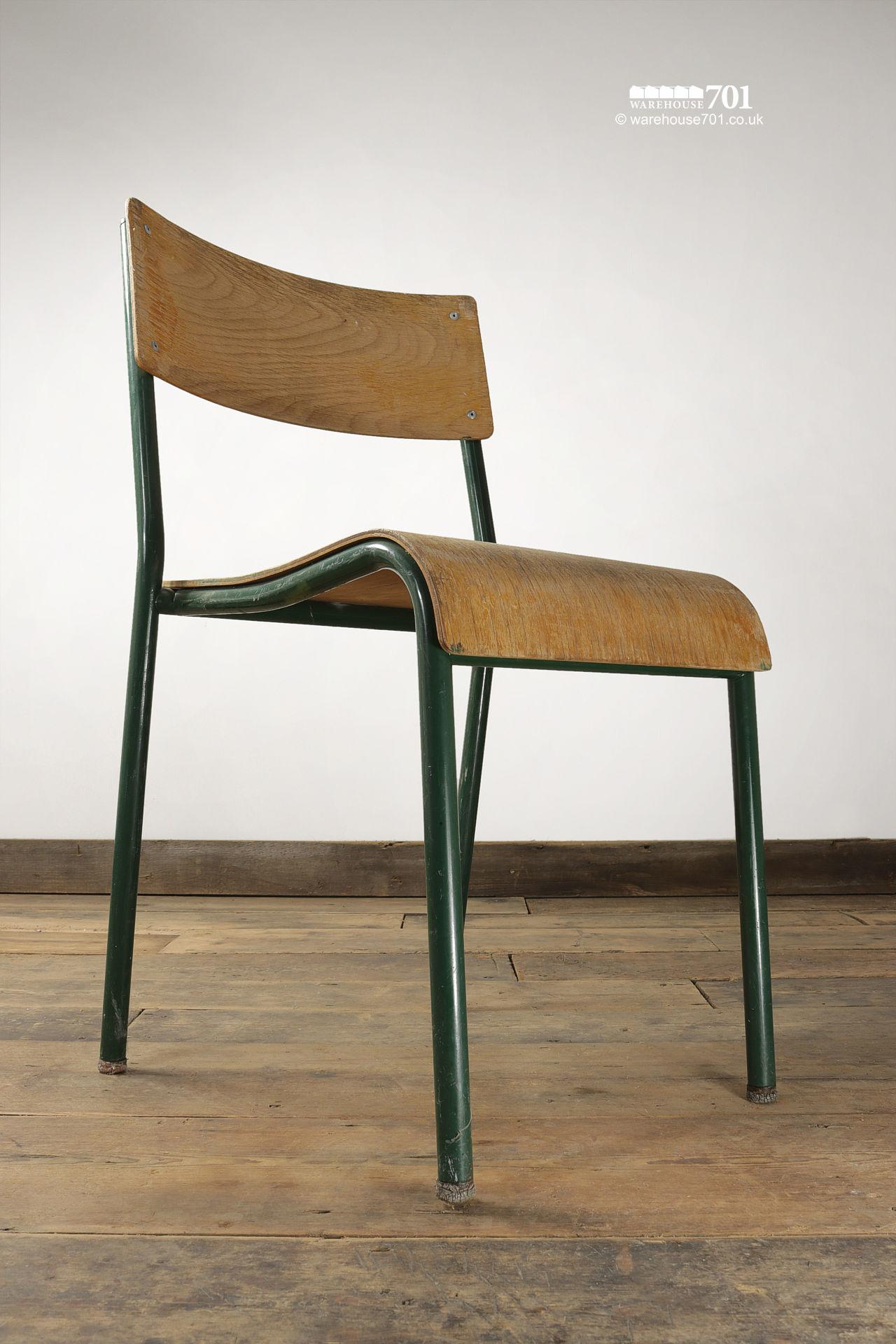 Old Green Tubular Steel and Ply Stacking Chairs #5