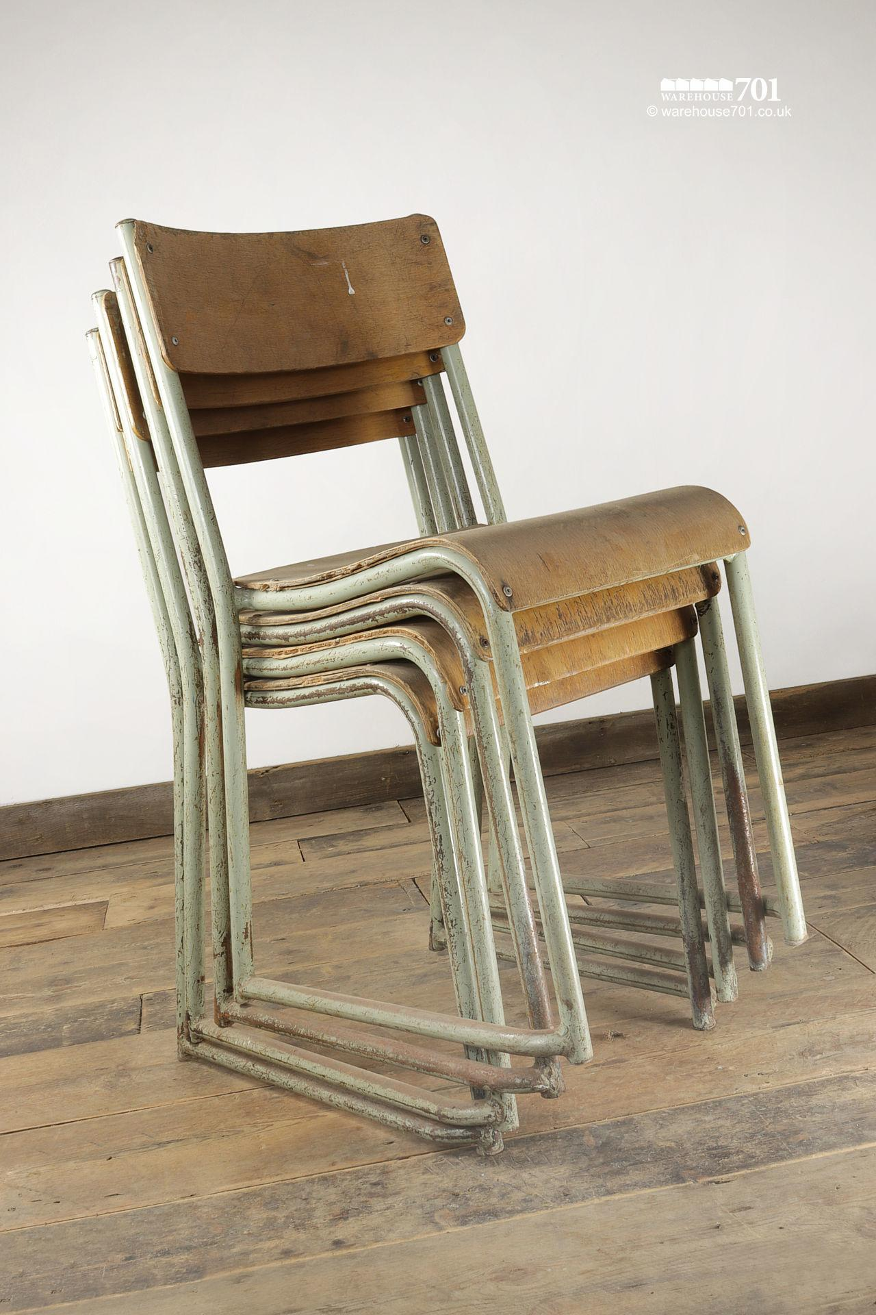 Vintage Sage Green Tubular Steel and Ply Stacking Chairs #3