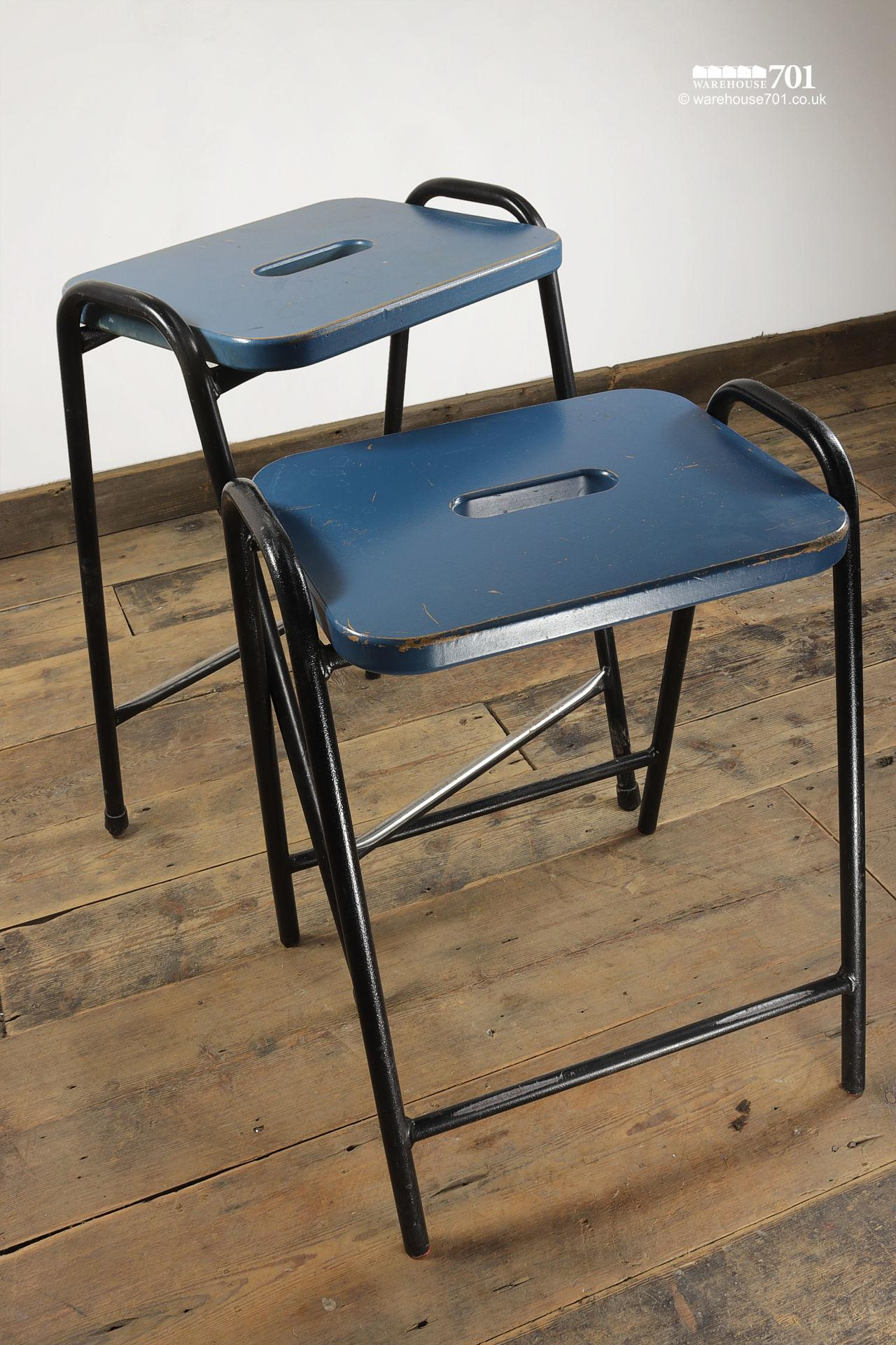 His & Hers Vintage Tubular Steel and Wood Stacking Stools #2