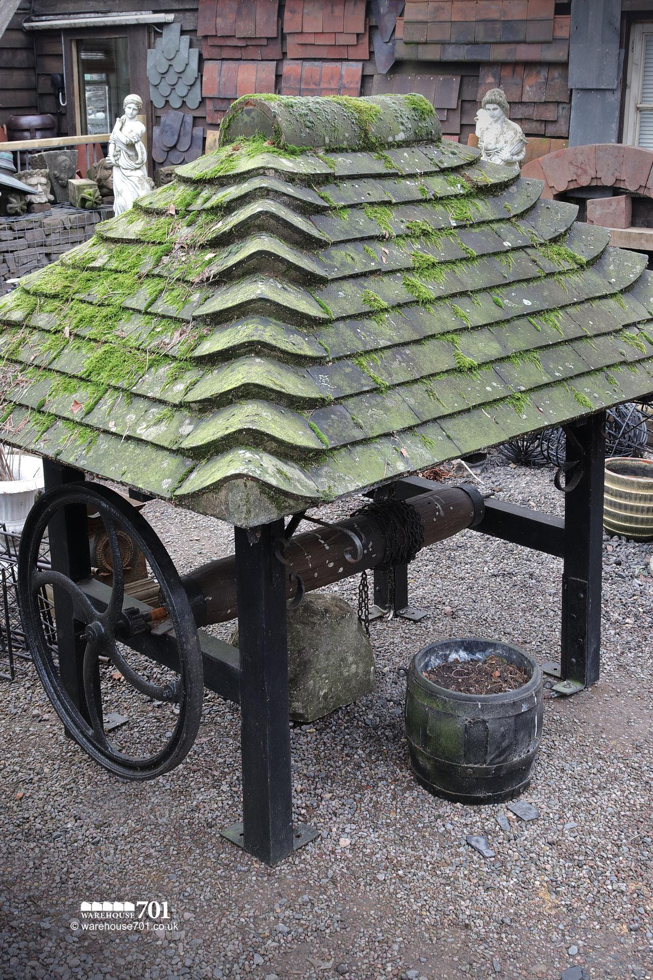 Complete Well Head with Tiled Roof Winder Bucket and Chain #3
