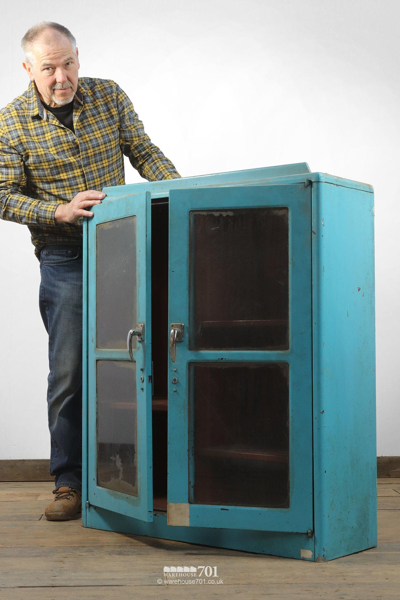 Salvaged Glazed Blue All-Metal Workshop Cabinet #4