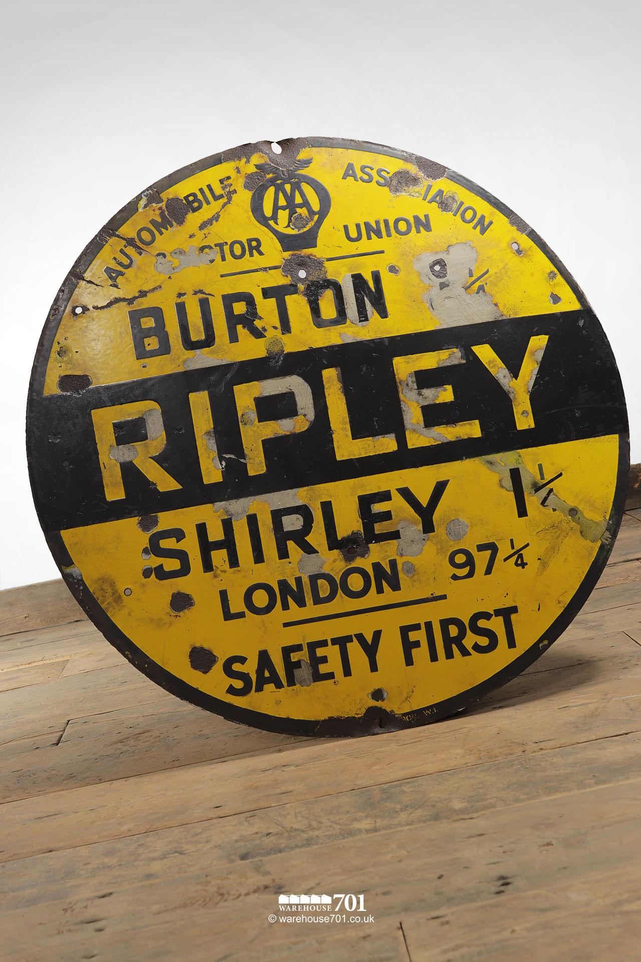 Rare Reclaimed Round Metal Yellow and Black Ripley AA and Motor Union Road Sign #3