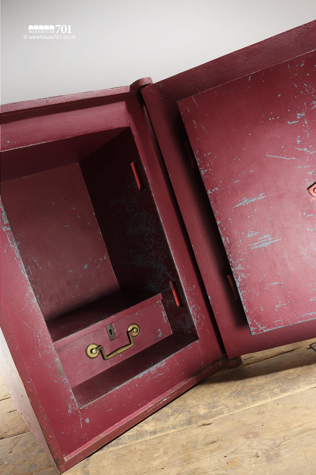 Salvaged Vintage Burgundy Red and Brass Safe by B.Tebbit of Birmingham #4