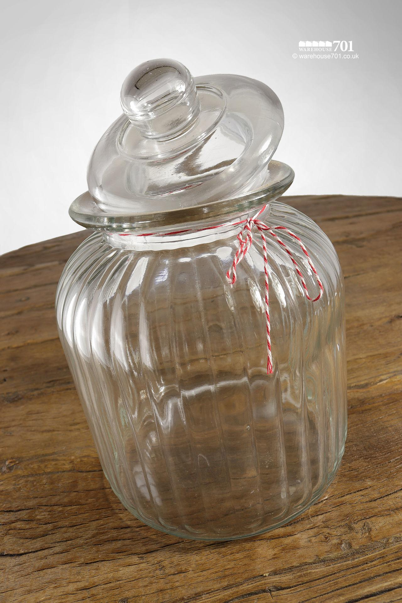 NEW Fluted Glass Biscuit Cookie Jar With Lid #2
