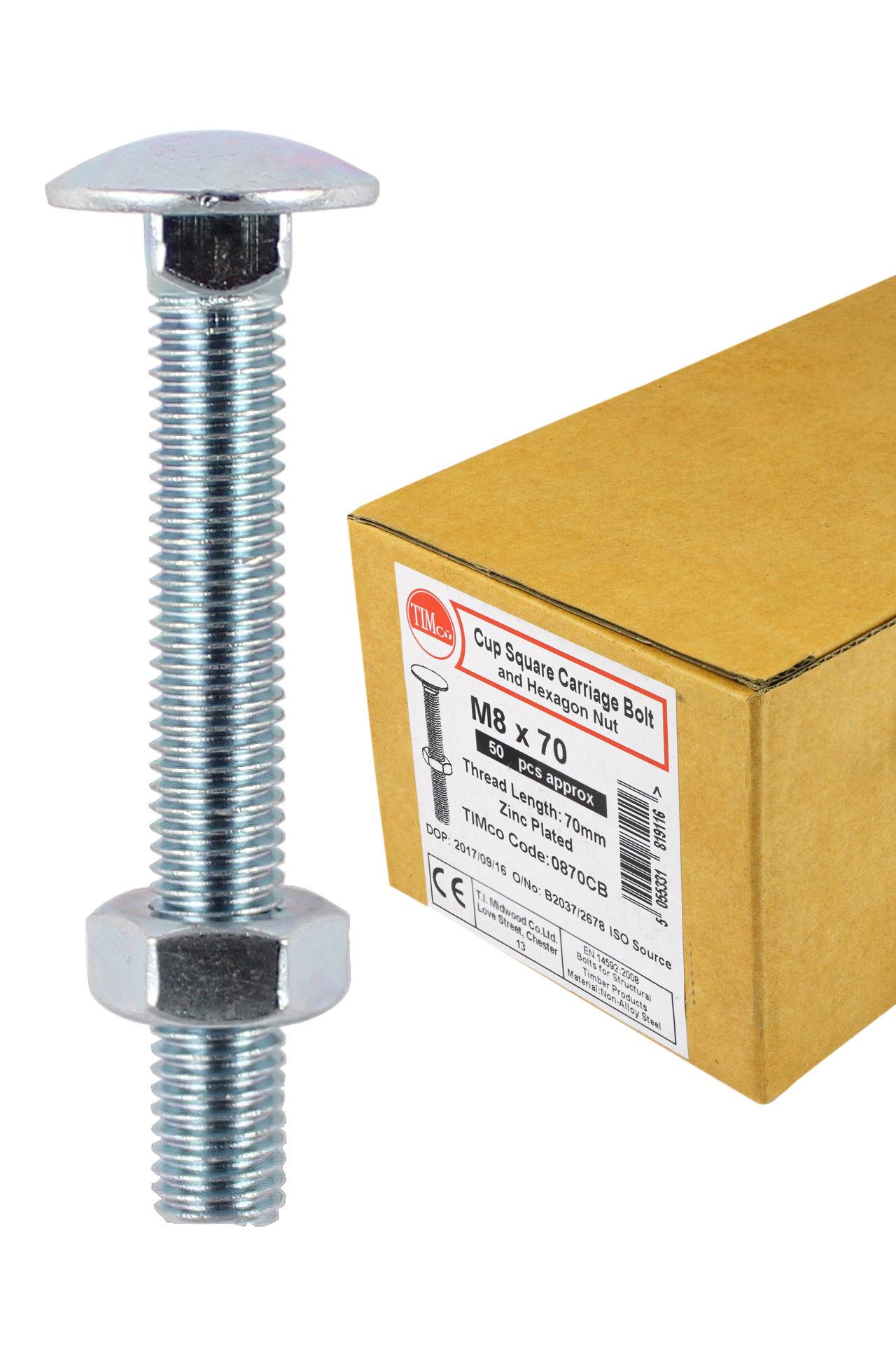 Carriage Bolts & Hex Nuts - Zinc