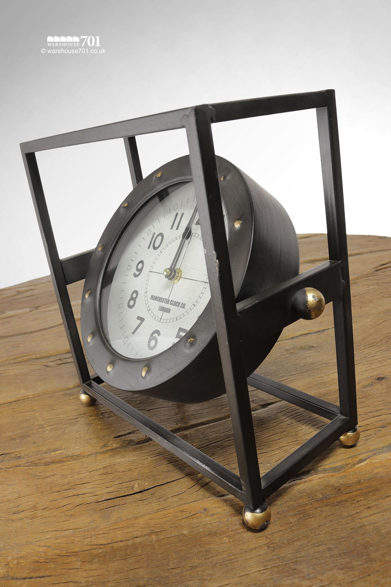 New Pivoting Framed or Cradled Industrial Style Freestanding Clock