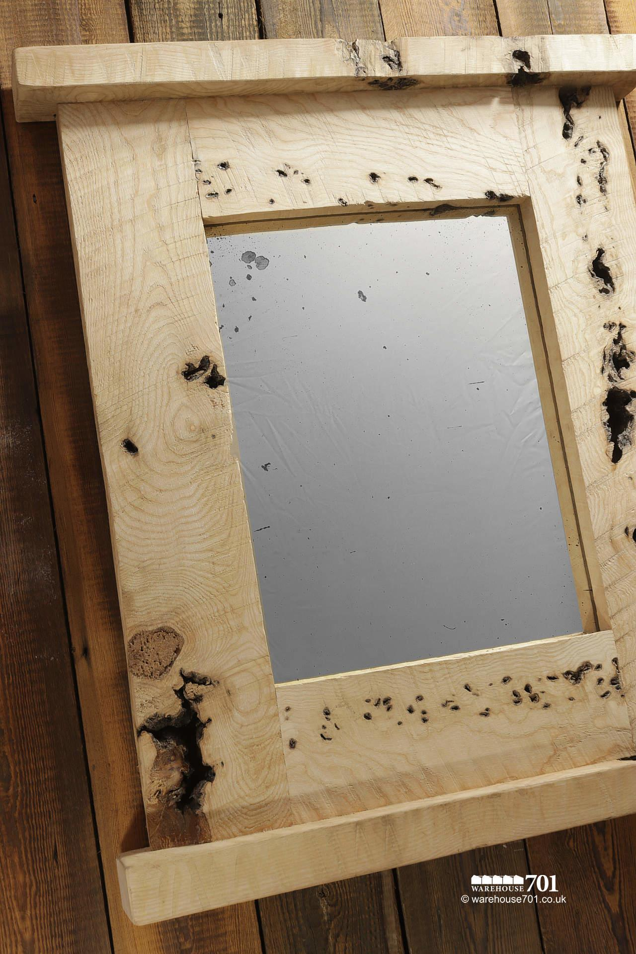 Beautiful NEW Handmade Large Burr Ash Wood Mirror with Integral Top Shelf #2