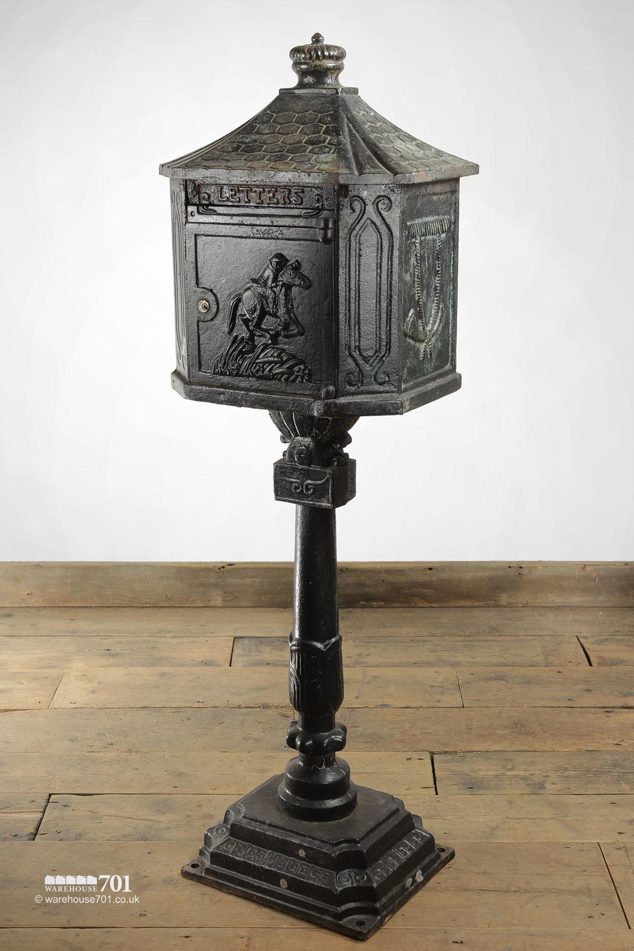 Salvaged Cast Iron Letterbox or Post Box on a Plinth #2