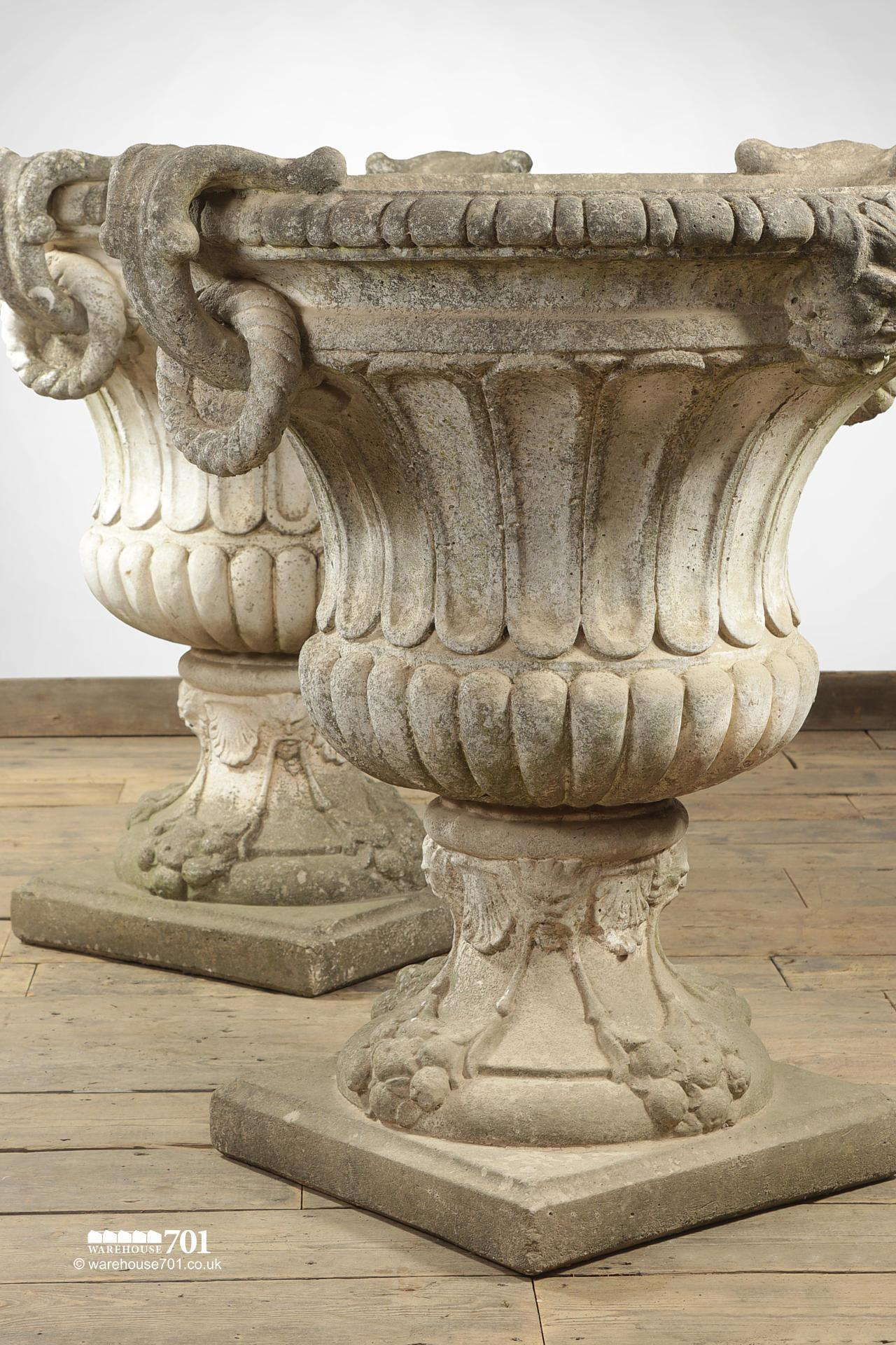 Magnificent Pair of Large Classic Decorative Garden Urns