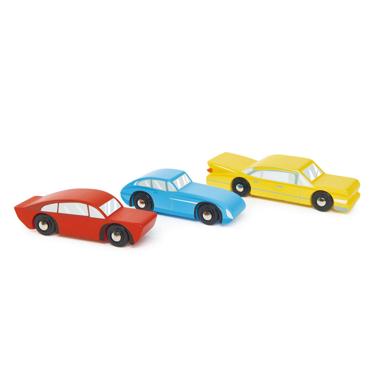 New Stylish Wooden Retro Toy Cars - Set of 3 in Red, Blue and Yellow #3