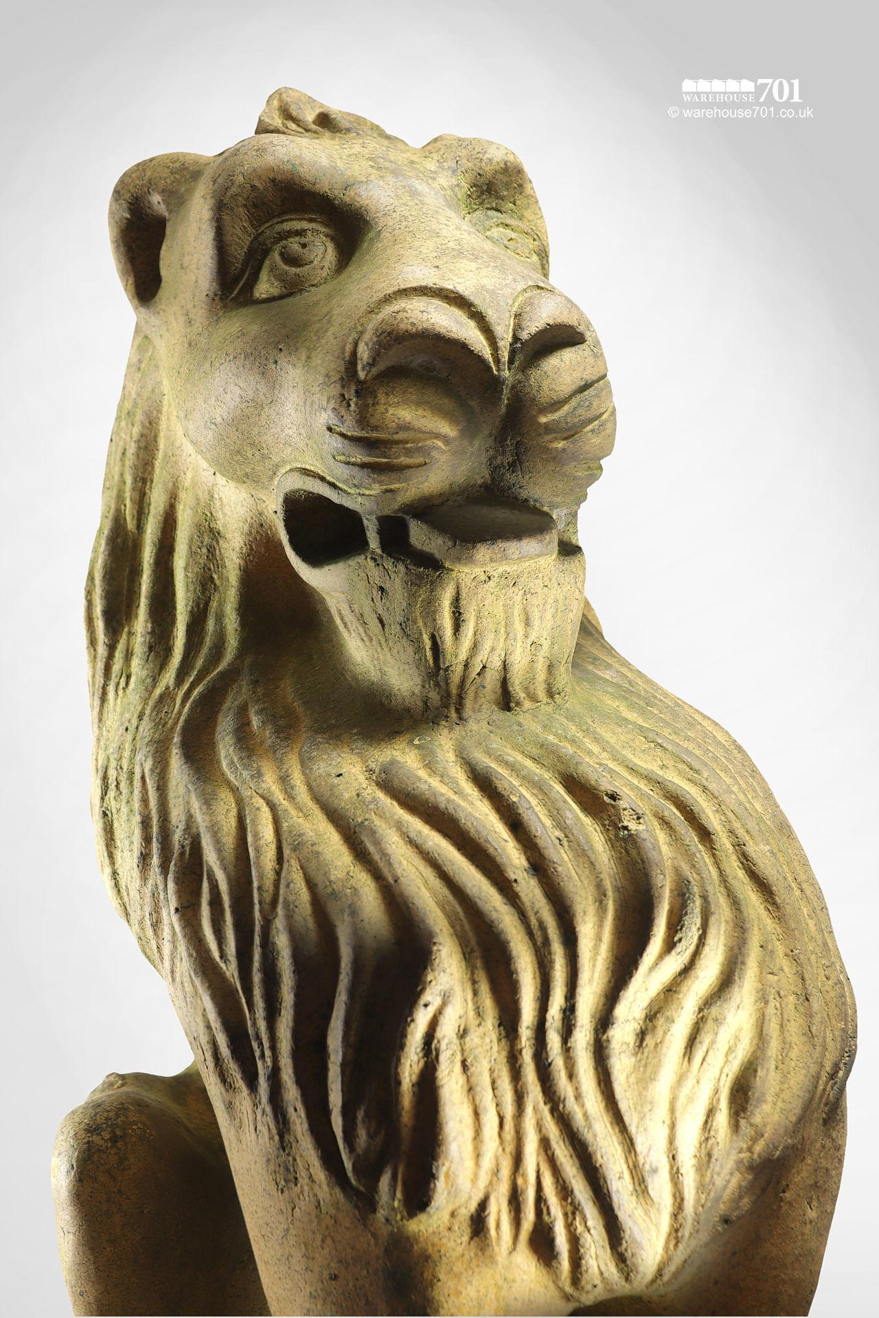 Beautiful Salvaged Ornamental Terracotta Stylised Lion Figure #2