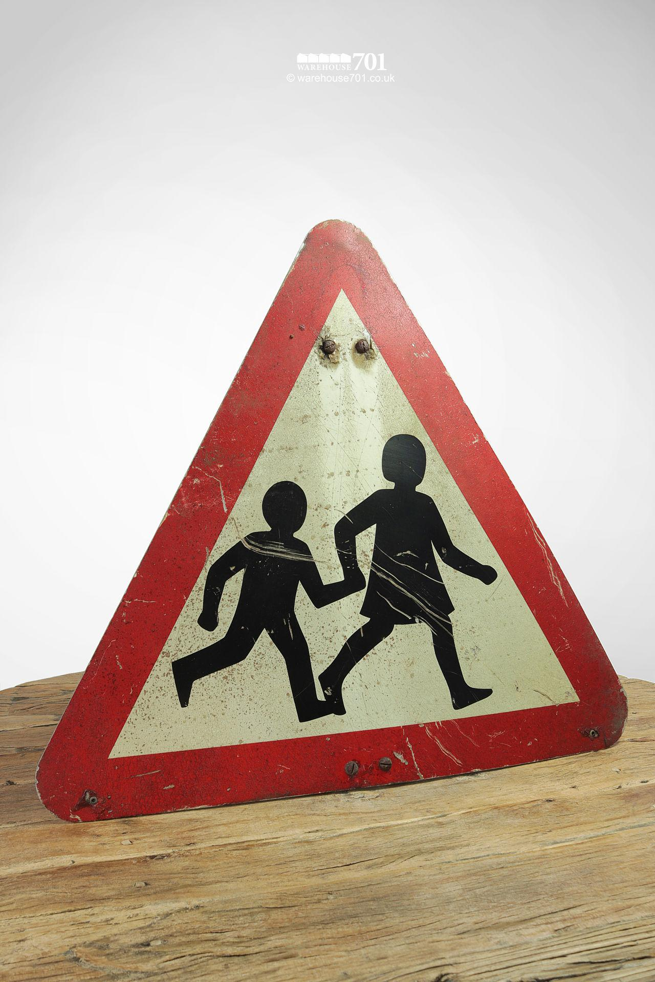 Reclaimed Red and White Children Crossing Road Sign