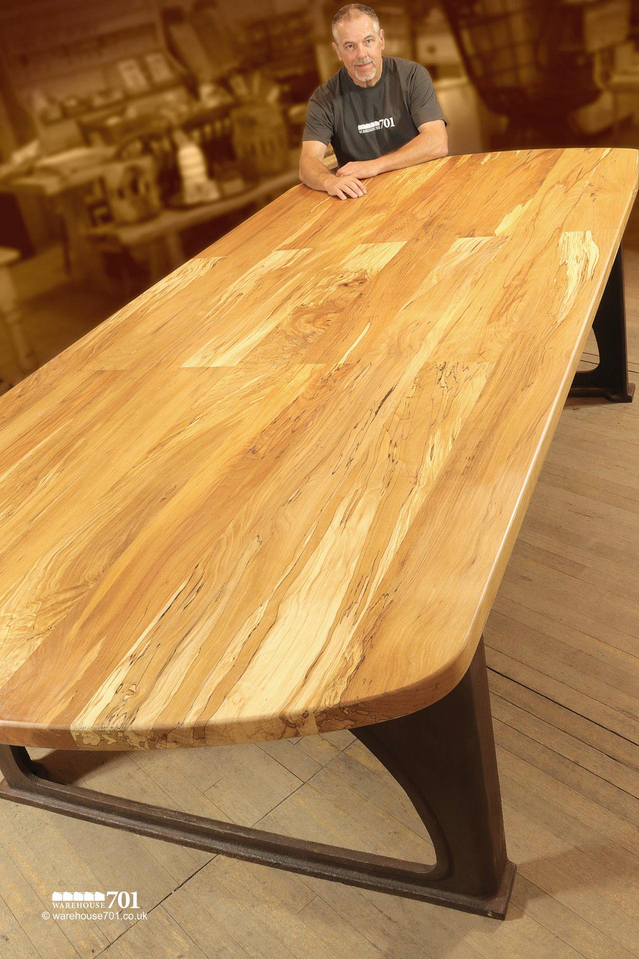 NEW Impressive Highly Figured Beech and Cast Iron Dining or Refectory Table