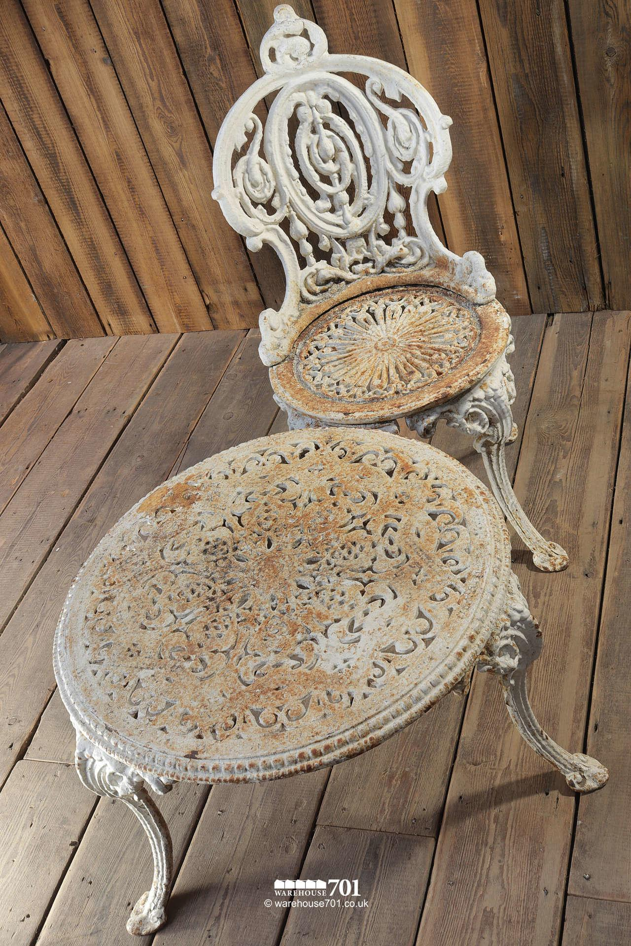 Antique Heavy Cast Iron White Garden Table and Chair #2