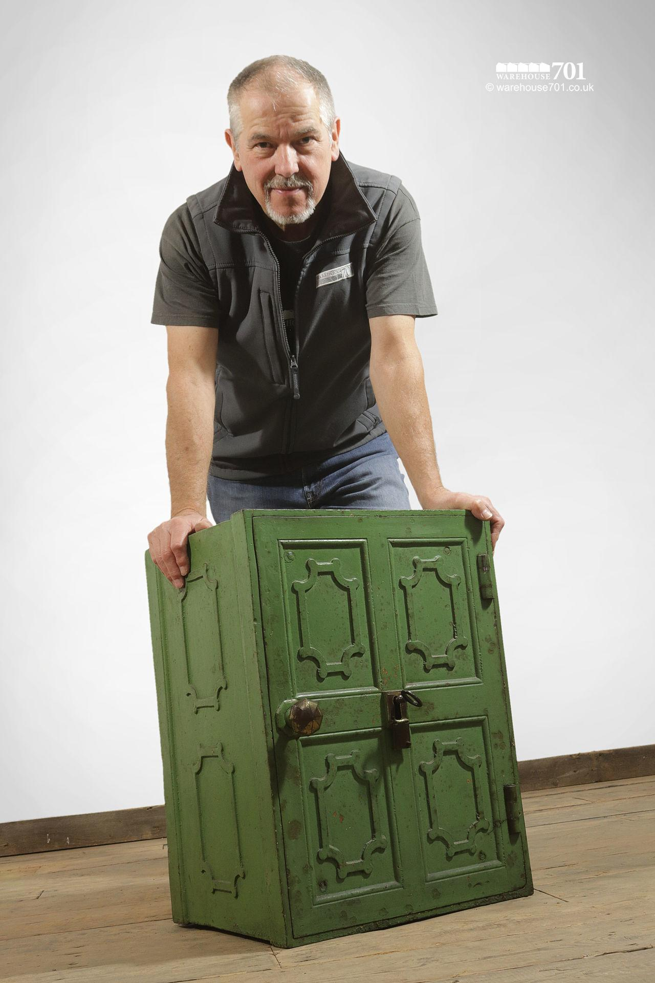 Salvaged Iron Green Painted Safe with Divider, Drawers and Key #5