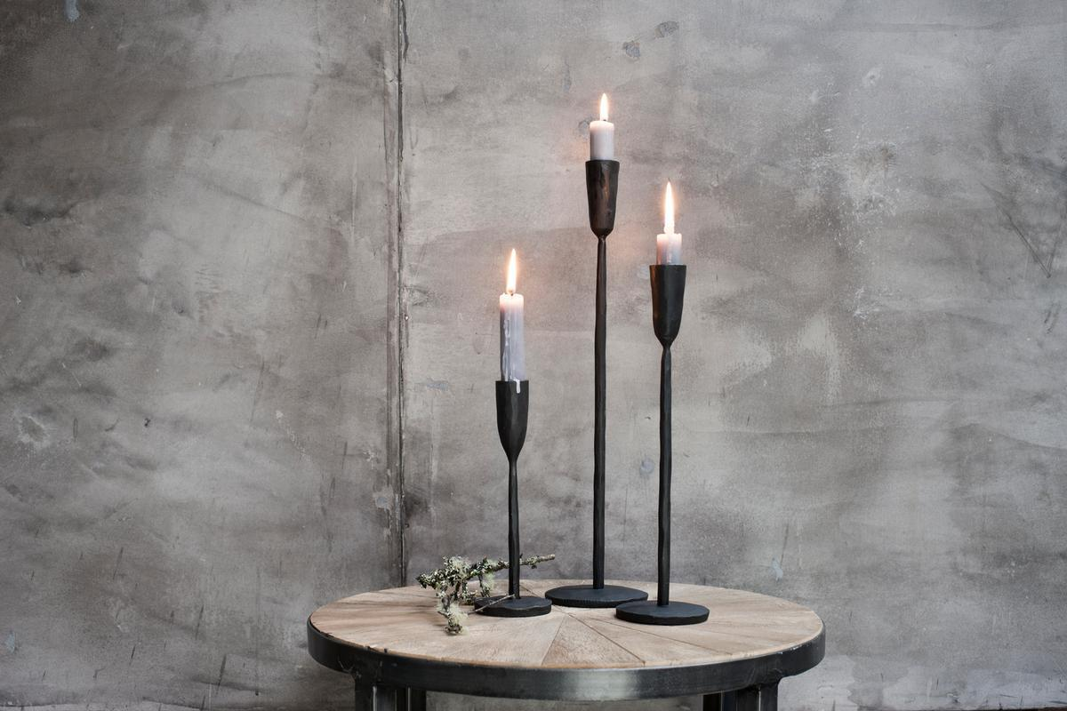 NEW Mbata Brass Candlestick in Antique Black Finish