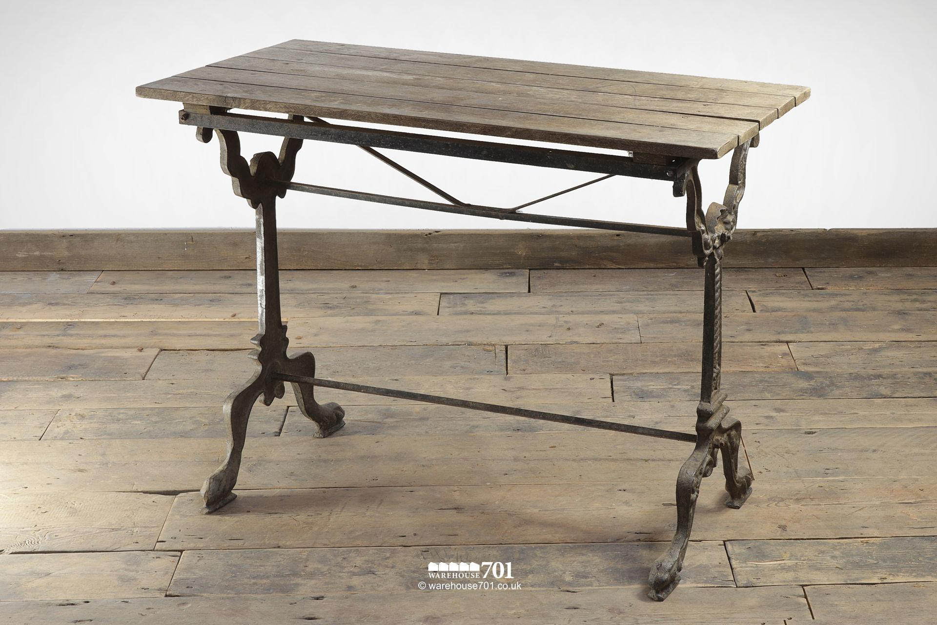 Reclaimed Oak Top Decorative Cast Iron Base Table #4