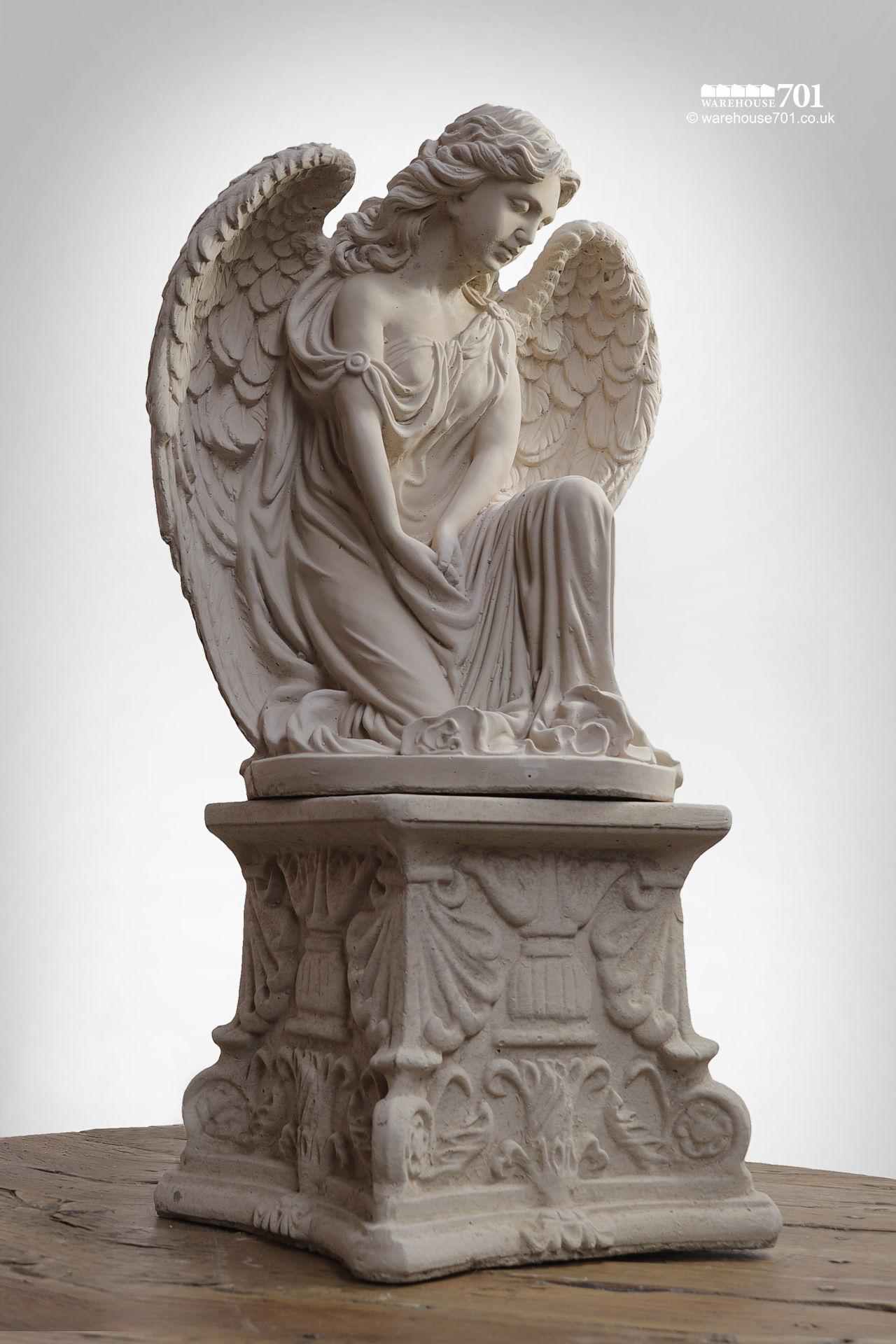 New Cast Stone Kneeling Angel Garden Statue or Figure