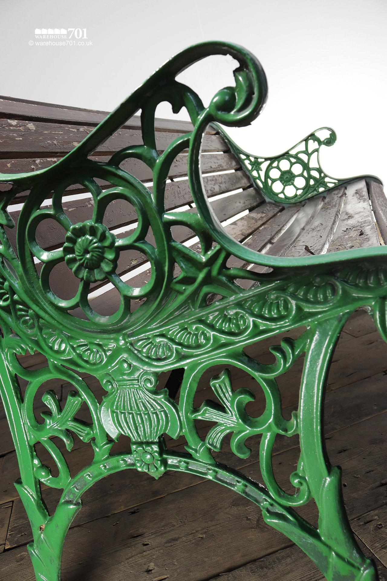 Vintage Green Cast Iron Ended Wood Slat Bench #3