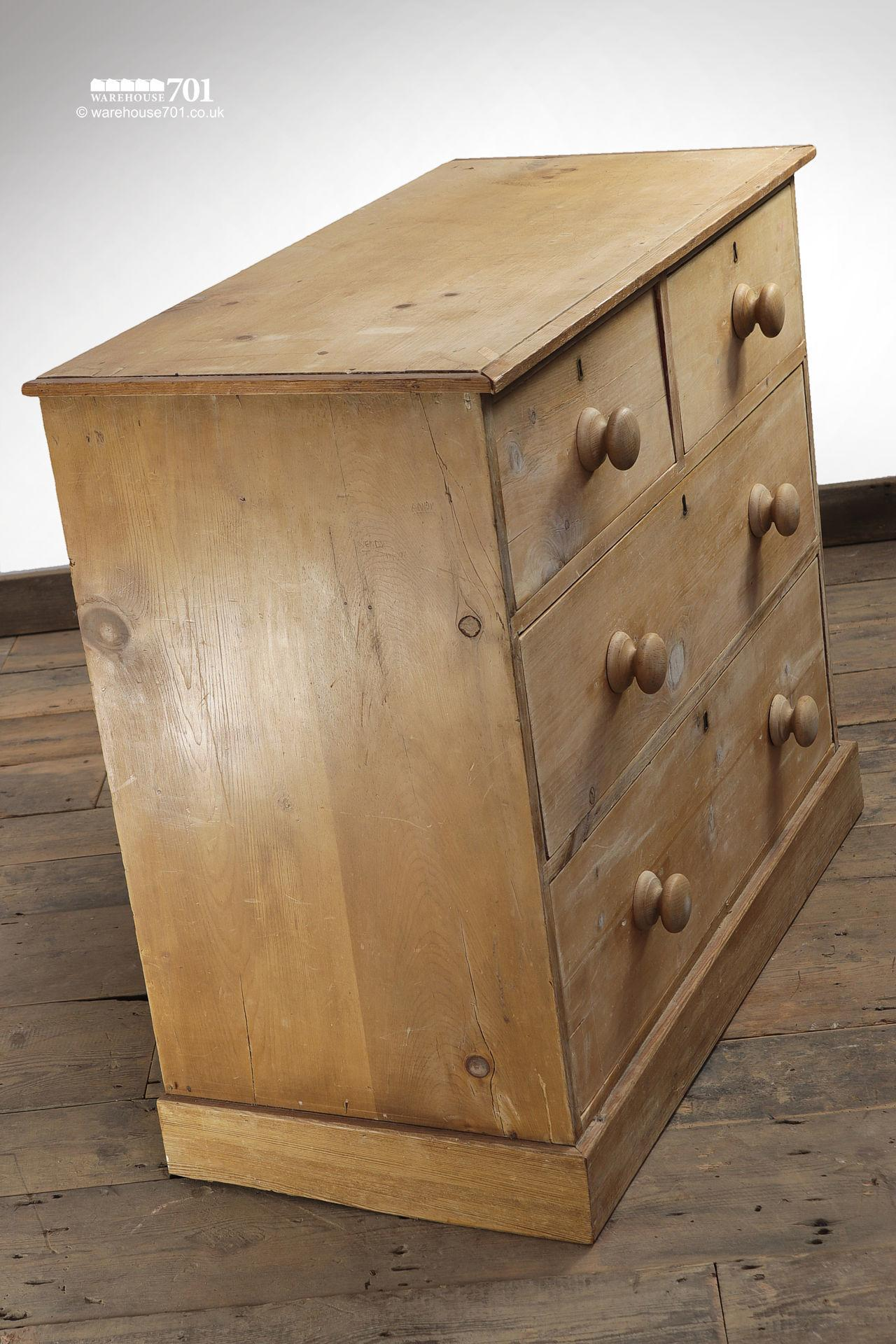 Old Four Drawer Honey Pine Chest of Drawers #3