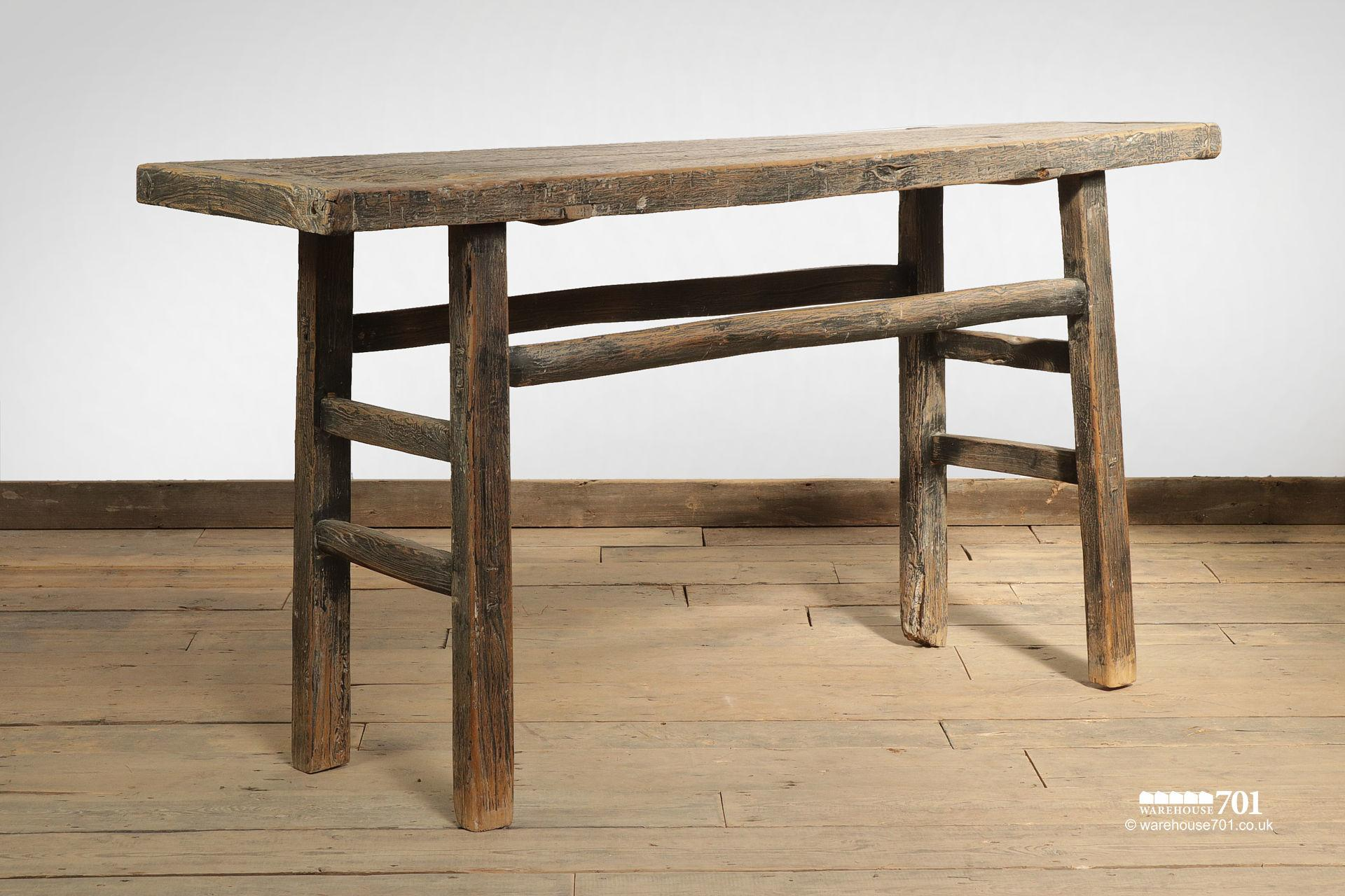 Impressive Reclaimed Elm Dark Wood Console Table #3