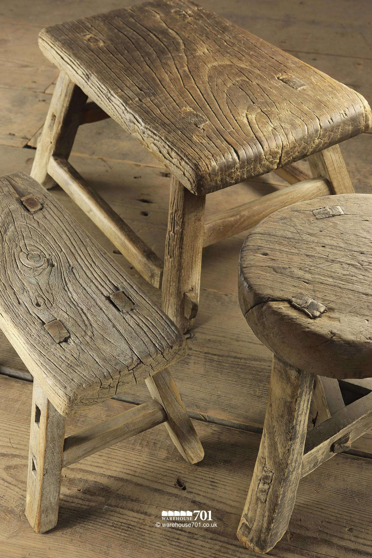 Reclaimed Elm Small Three and Four legged Milking Stools