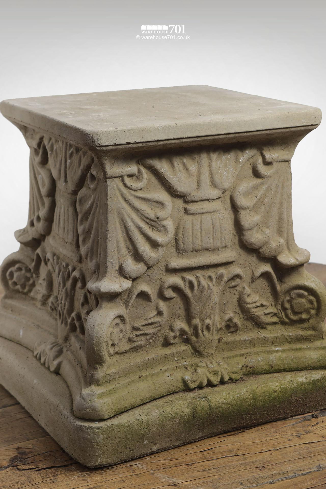 New Cast Stone Square Floral Plinth (Raised) #2