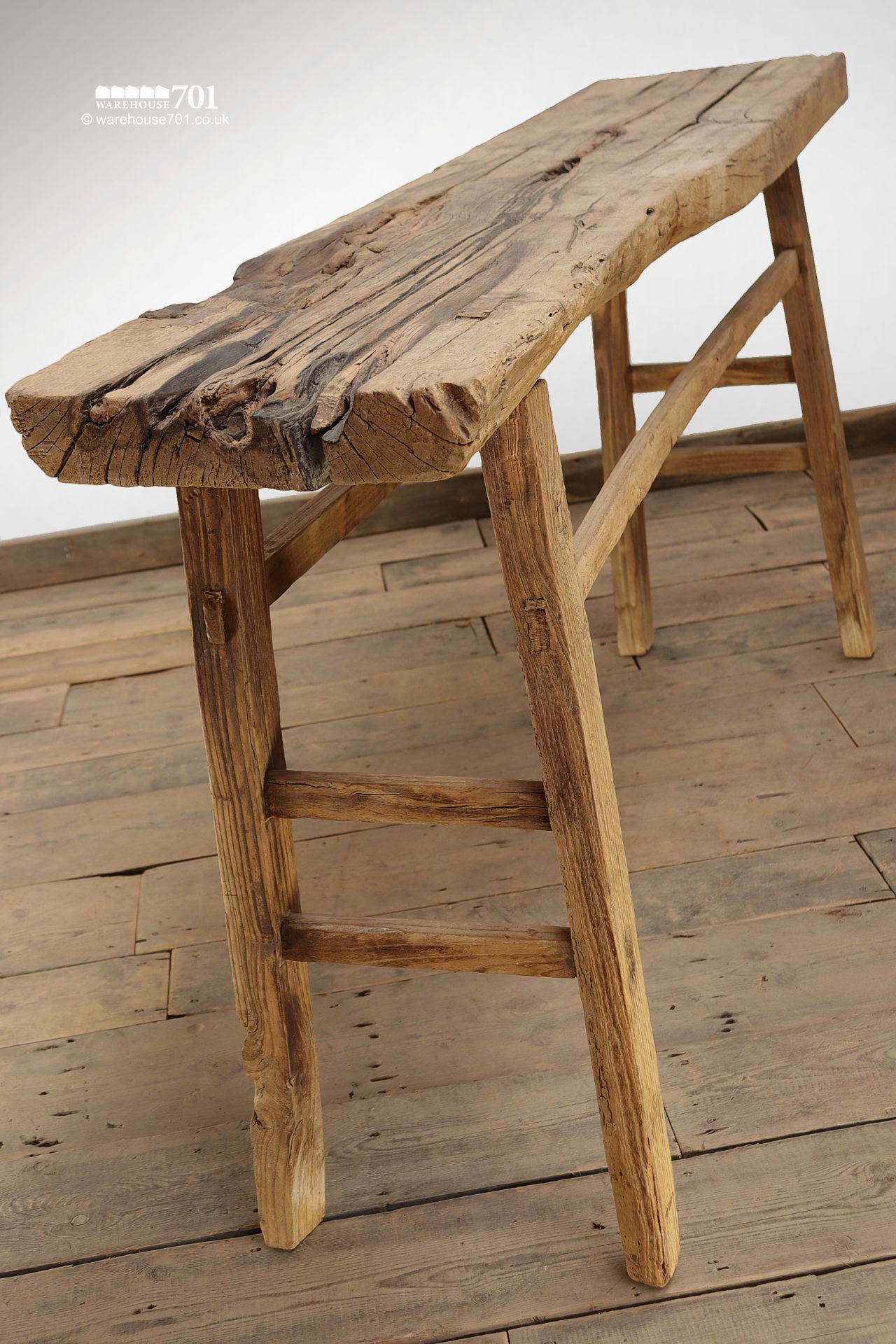 Reclaimed Elm Light Wood Console Table #1