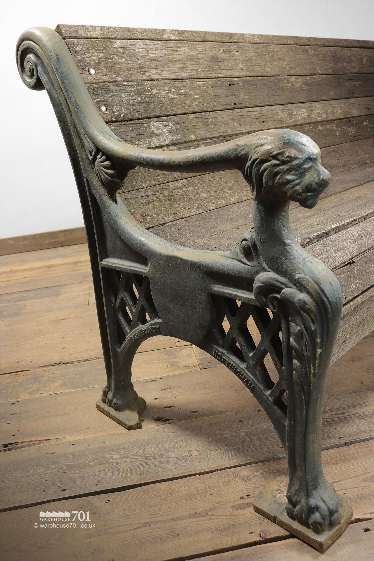 Salvaged Heavy Cast Iron Lion Mask Garden Bench #5