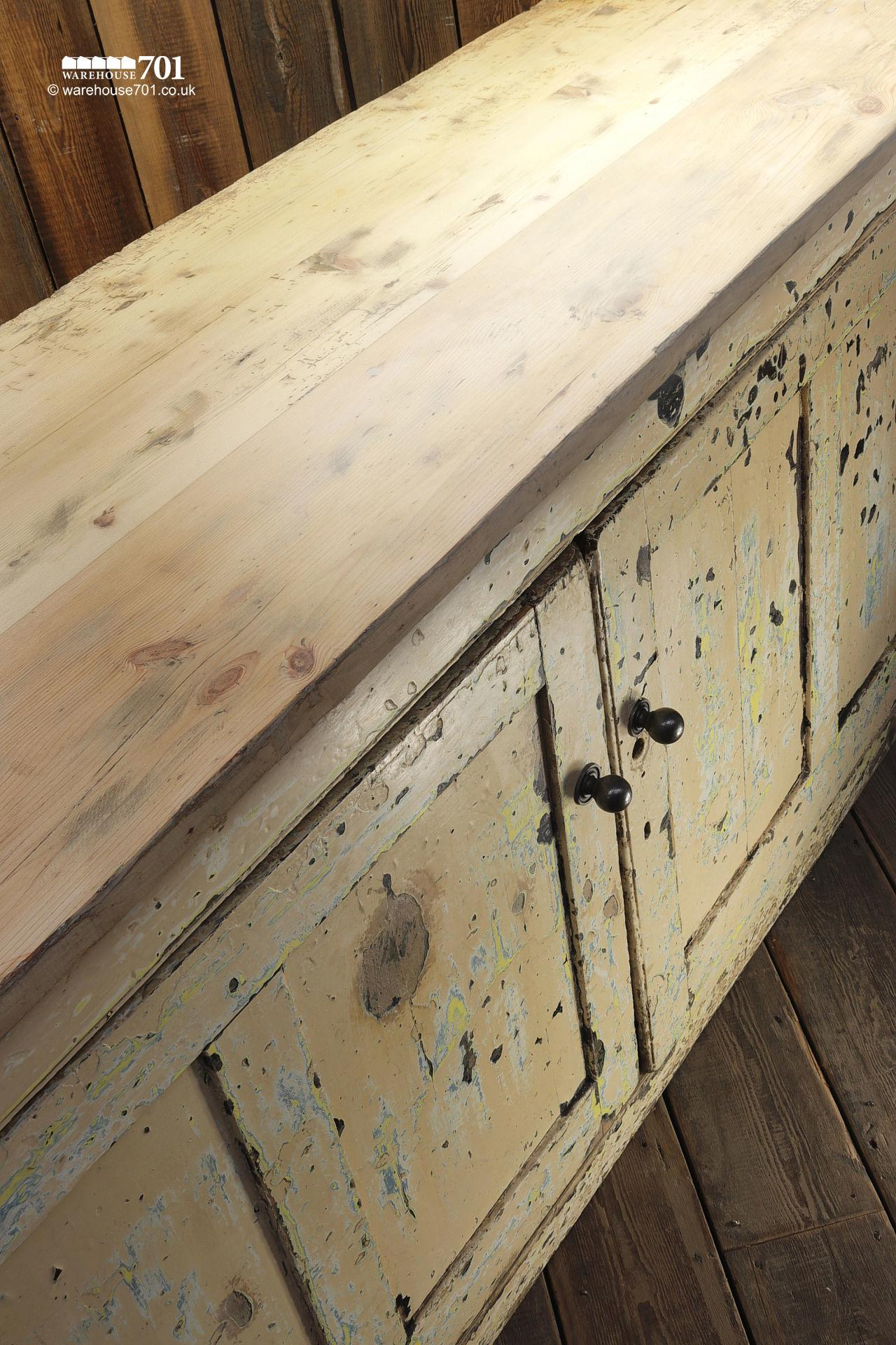 Beautiful Old Aged Two Door Painted Wood Sideboard #10