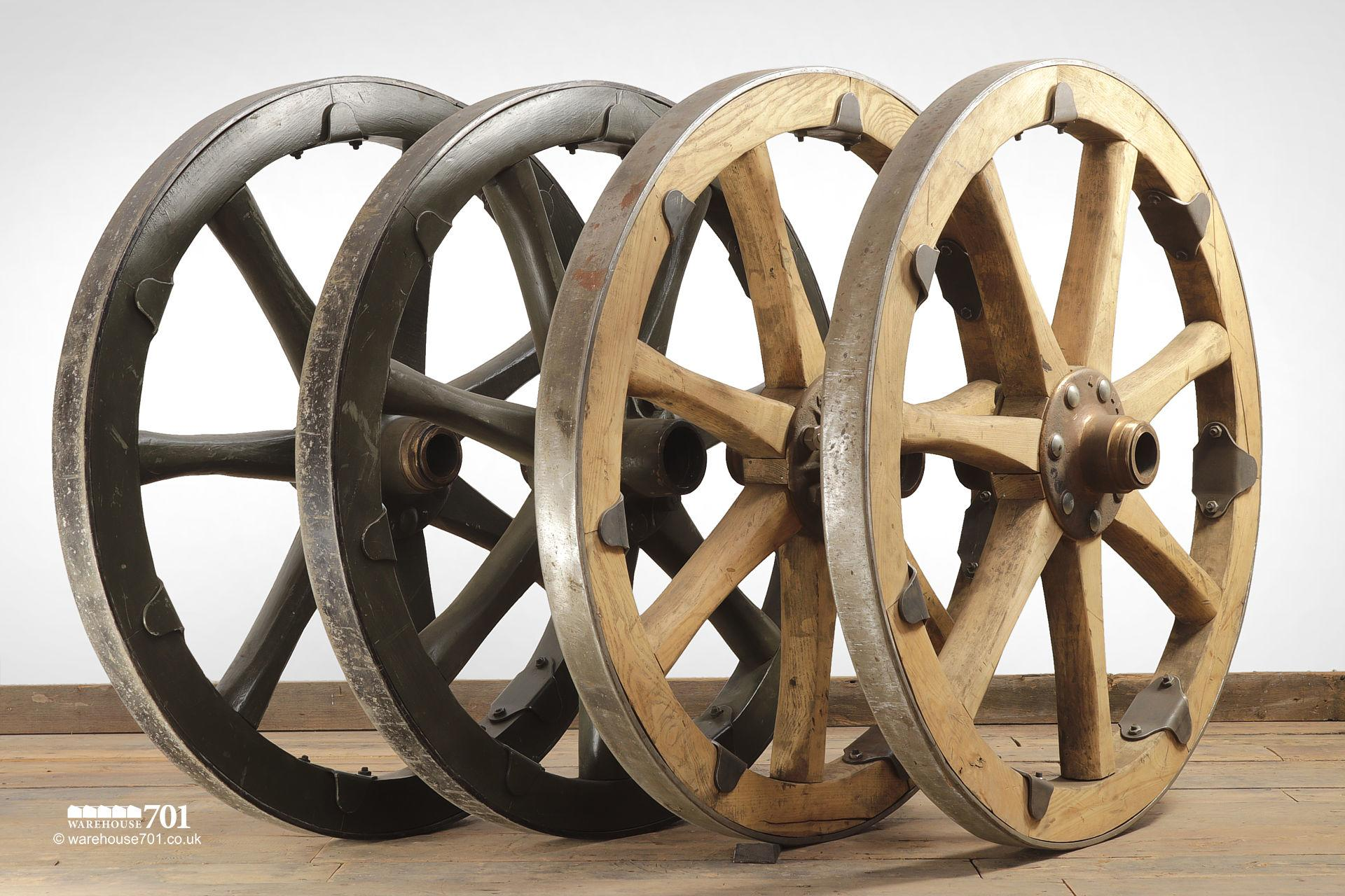 Set of Four Original Military Gun Carriage Wheels #7