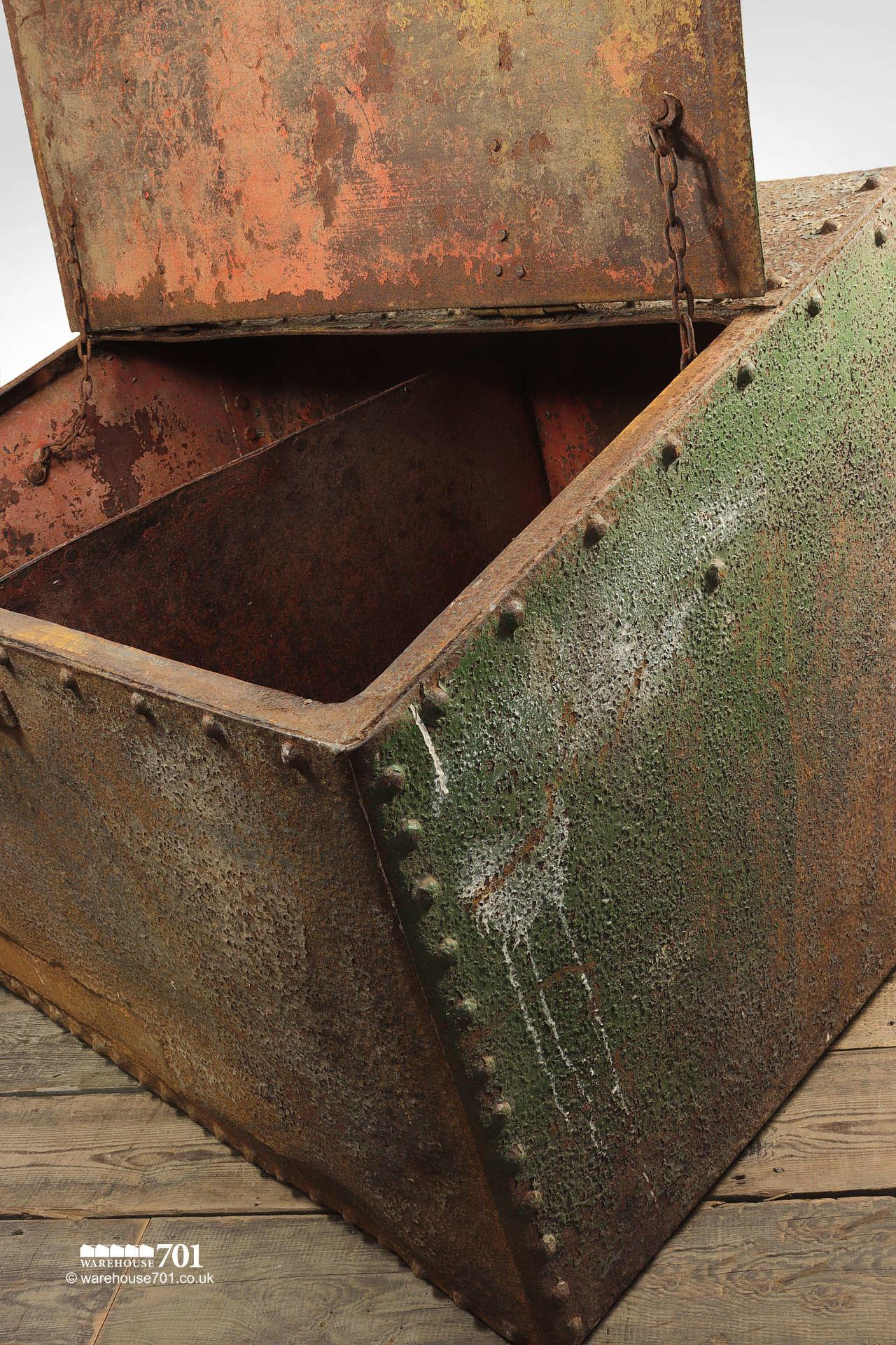 Large Green Reclaimed Riveted Double Feed Bin #1
