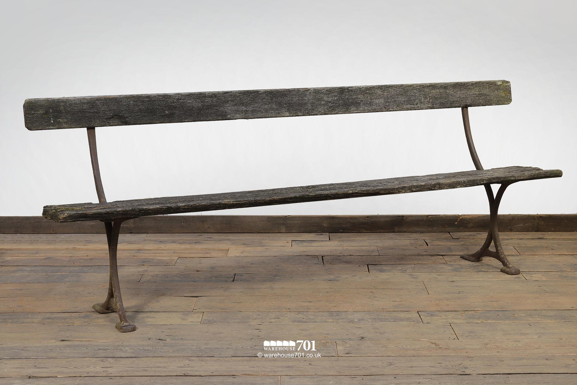 Elegant Reclaimed Cast Iron Bench by W Turner of Newtown #4