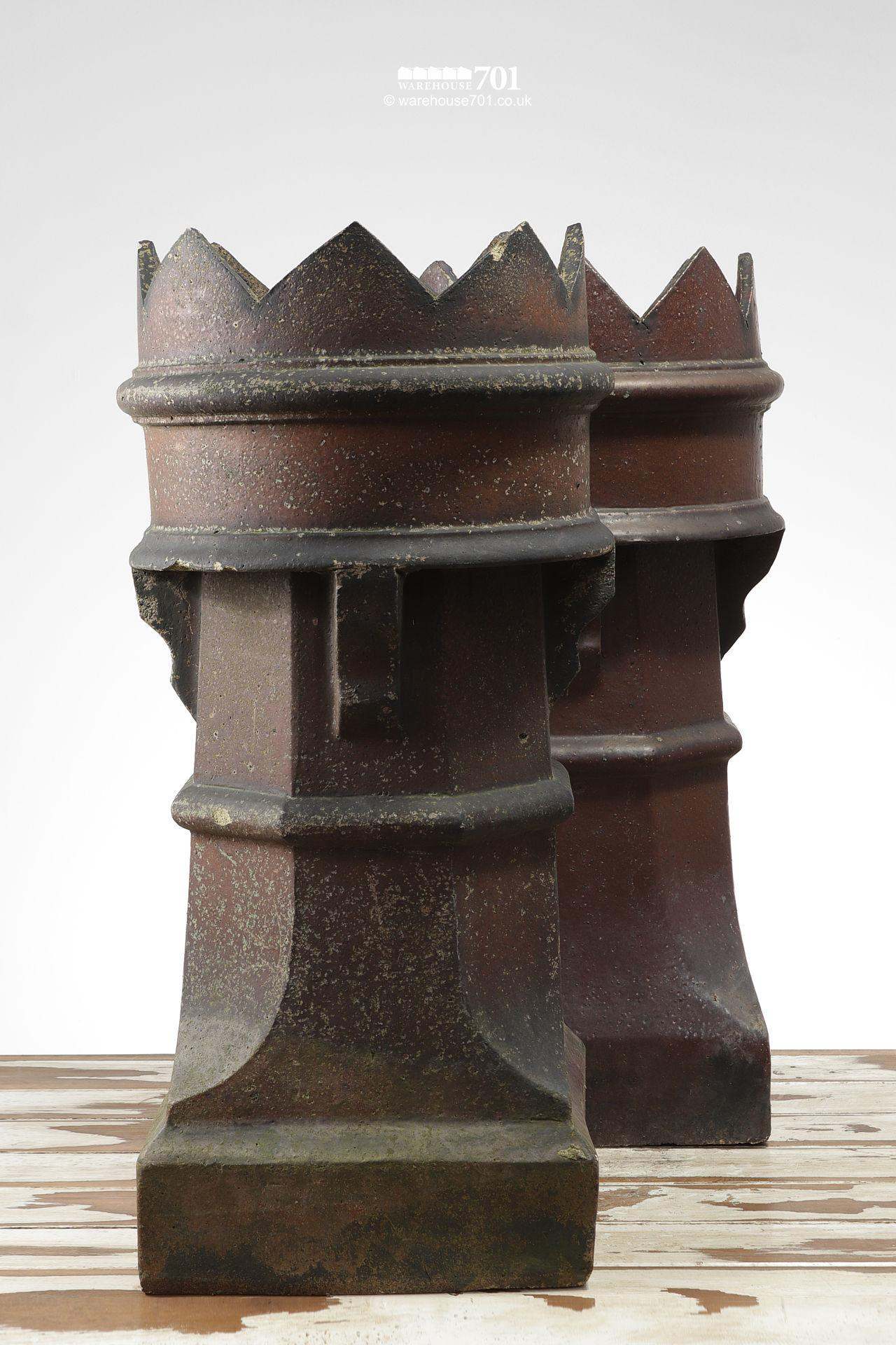 Pair of Old Salt Glazed Bishop Chimney Pots